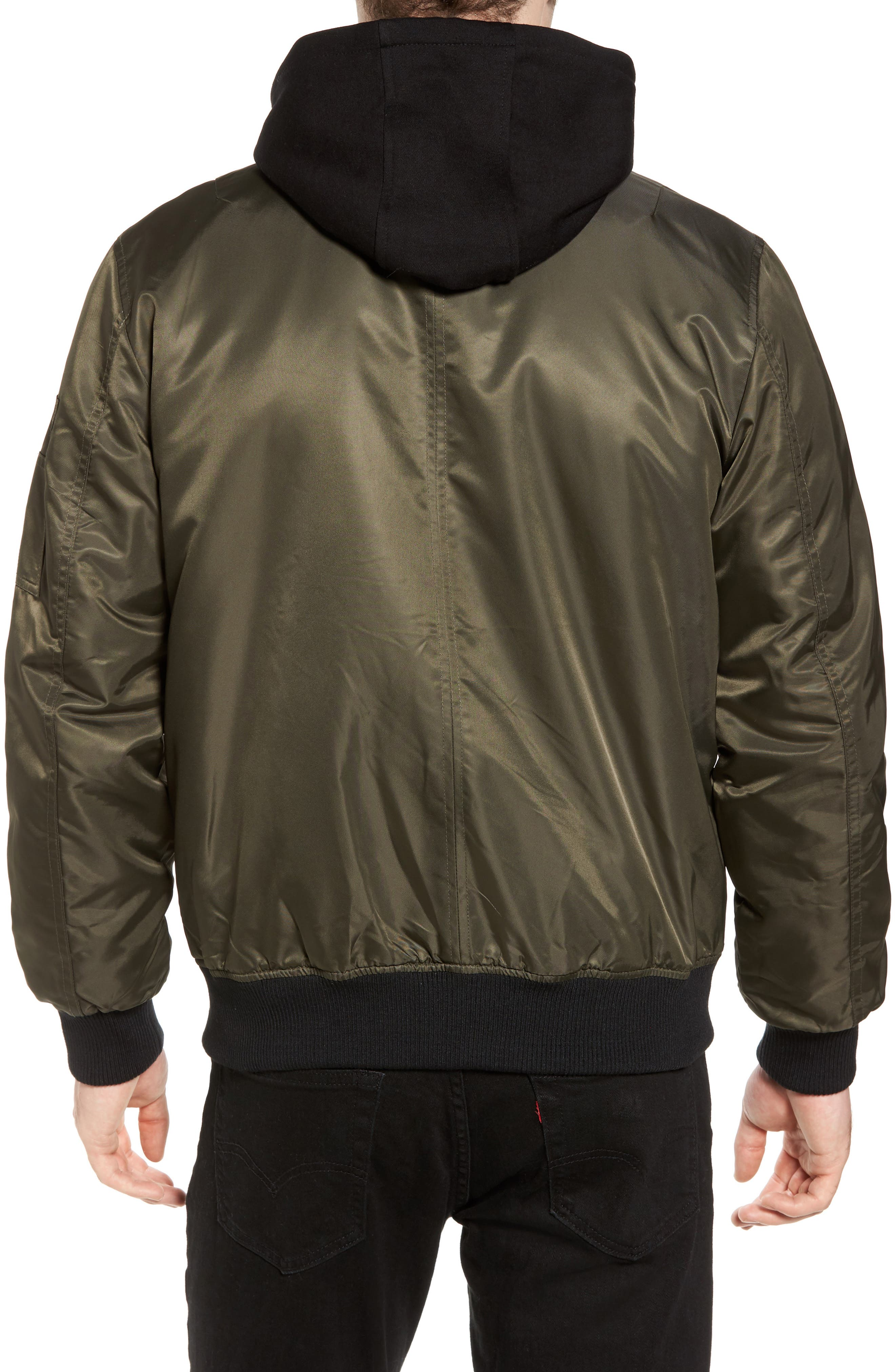 Water Resistant Hooded Satin Flight Jacket,                             Alternate thumbnail 4, color,