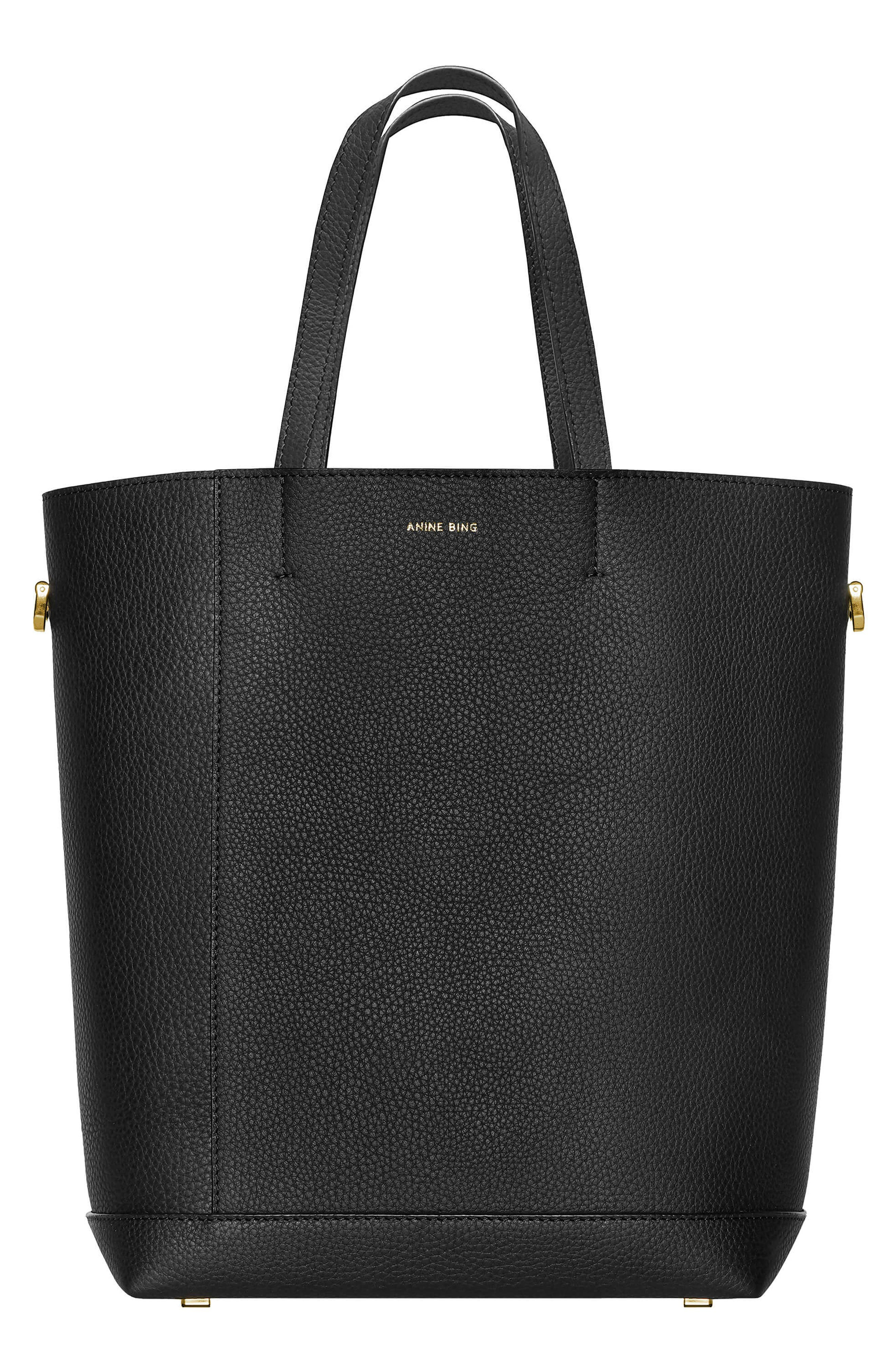 Lyon Water Repellent Leather Tote, Main, color, BLACK