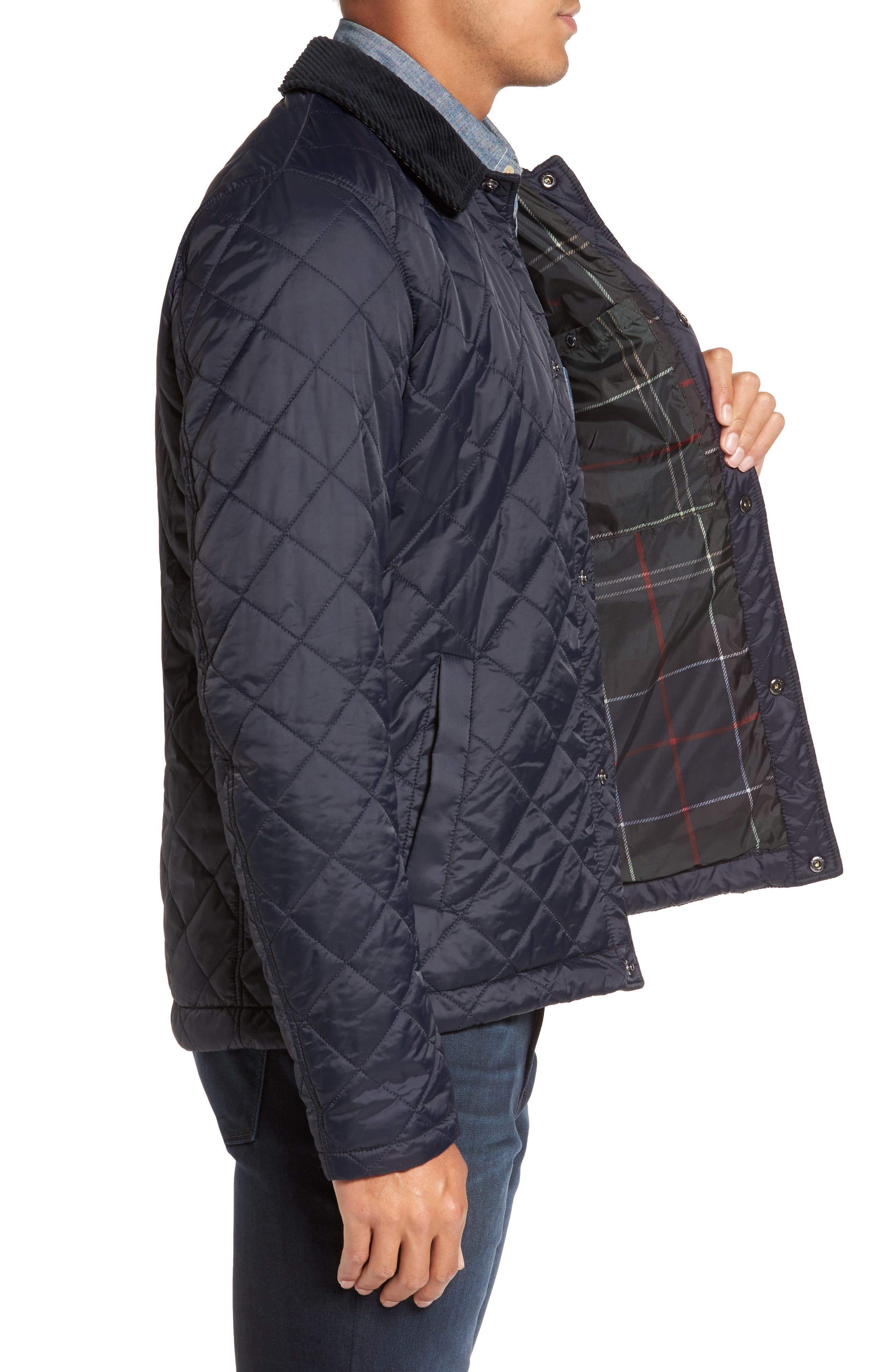 Holme Quilted Water-Resistant Jacket,                             Alternate thumbnail 3, color,                             NAVY