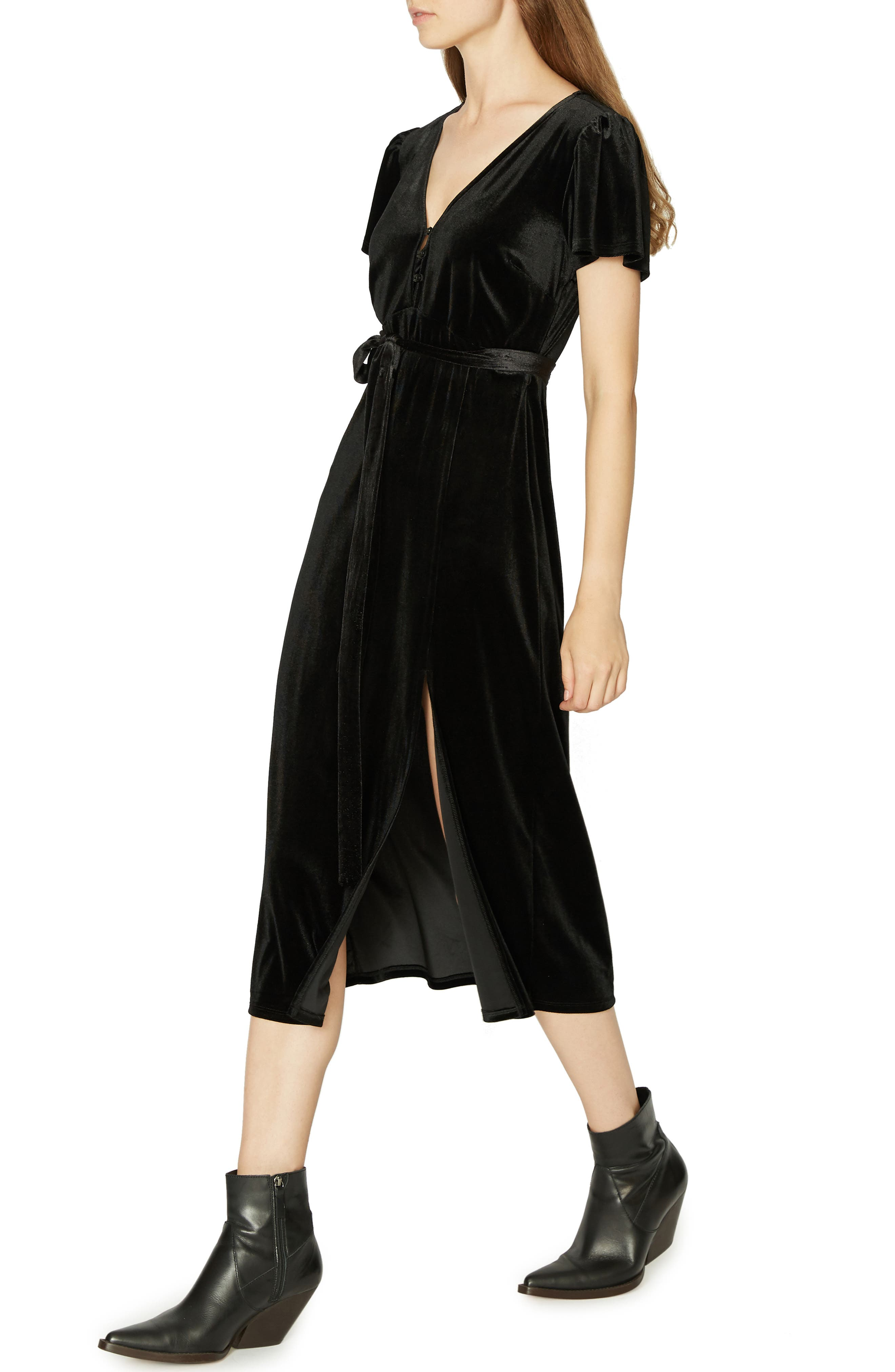 Airy Night Midi Dress,                             Alternate thumbnail 3, color,                             001