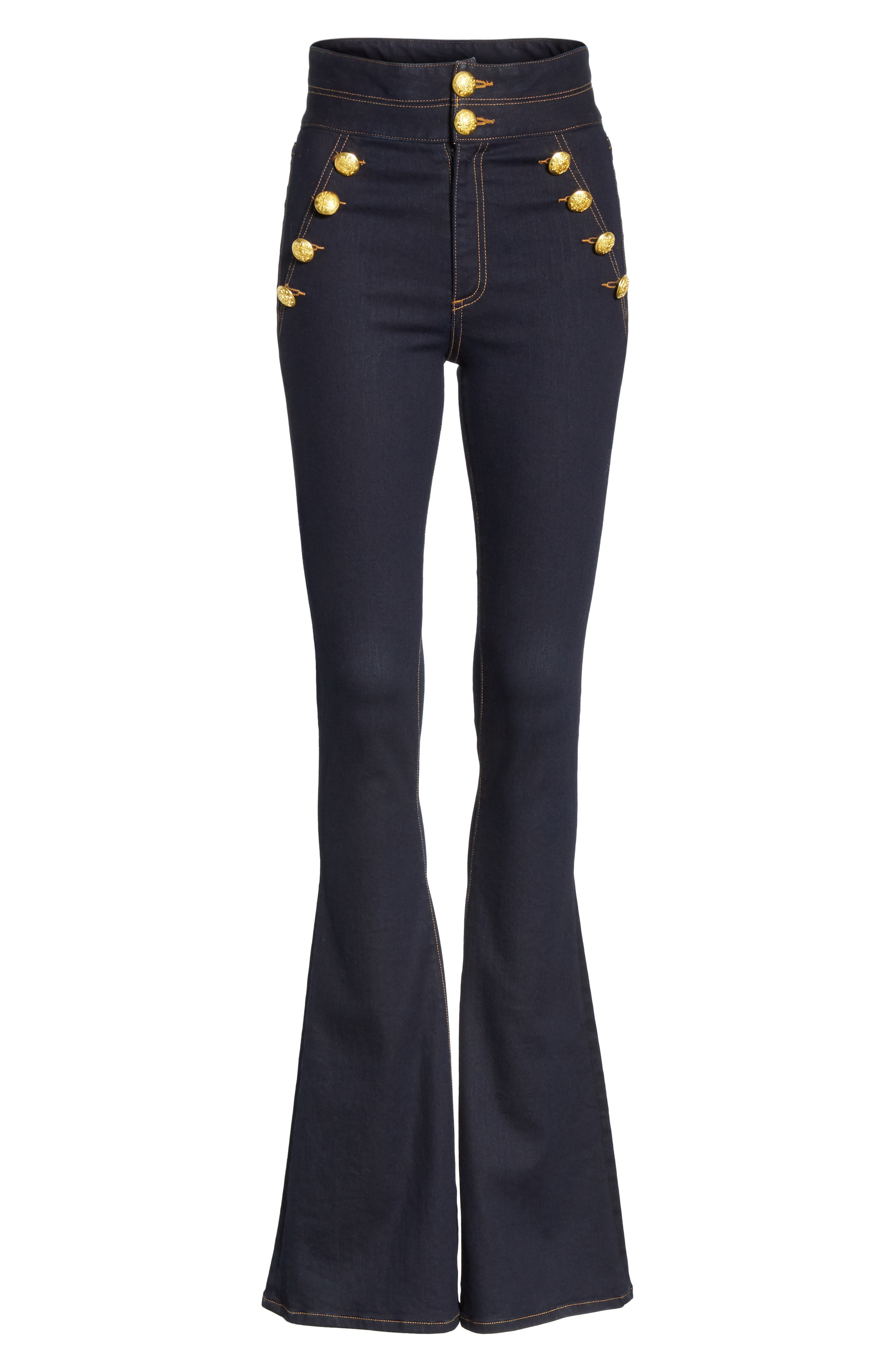Dalida Button Detail Skinny Flare Jeans,                             Alternate thumbnail 6, color,                             INDIGO