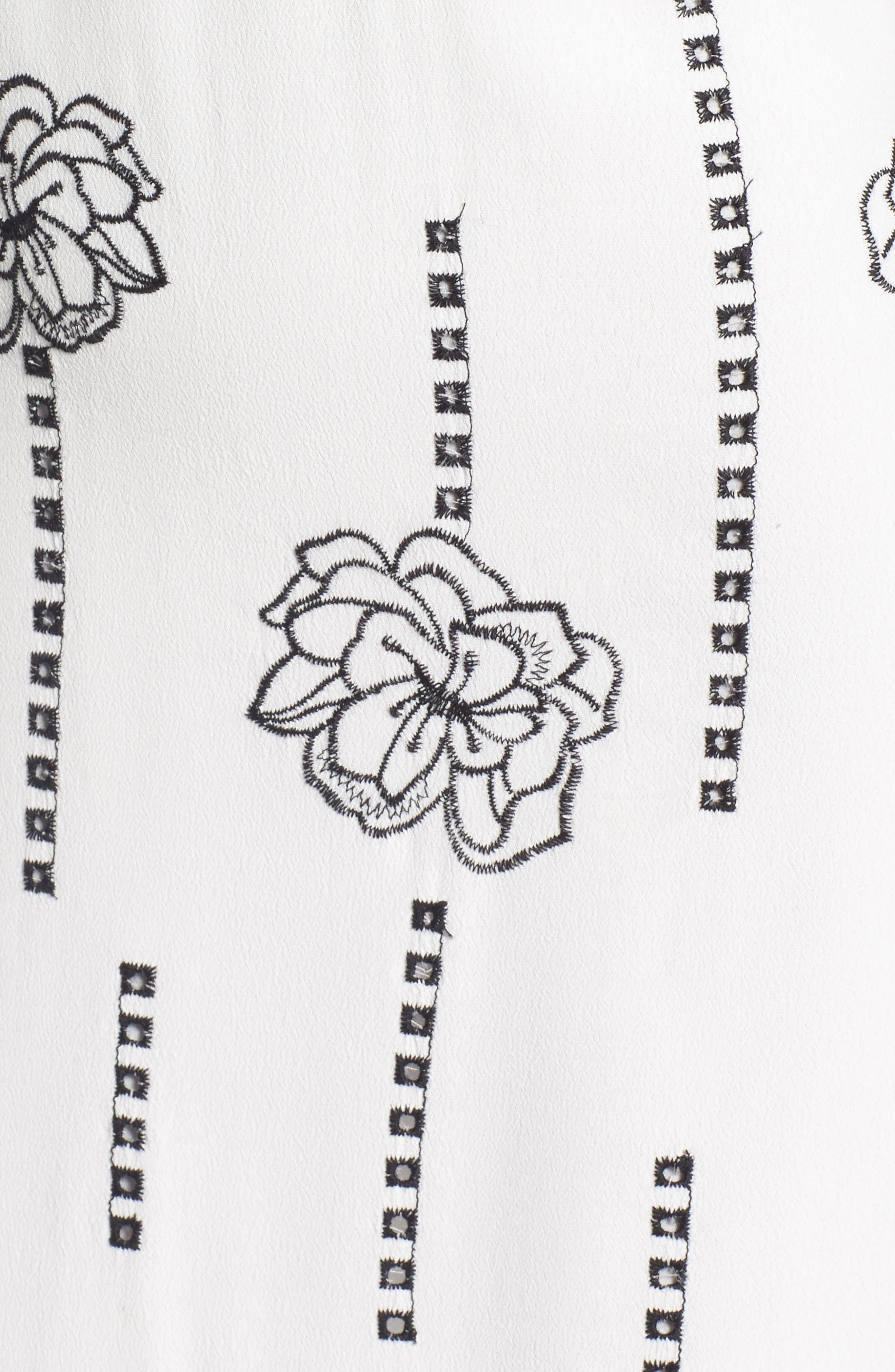 High Neck Embroidered Midi Dress,                             Alternate thumbnail 5, color,                             100