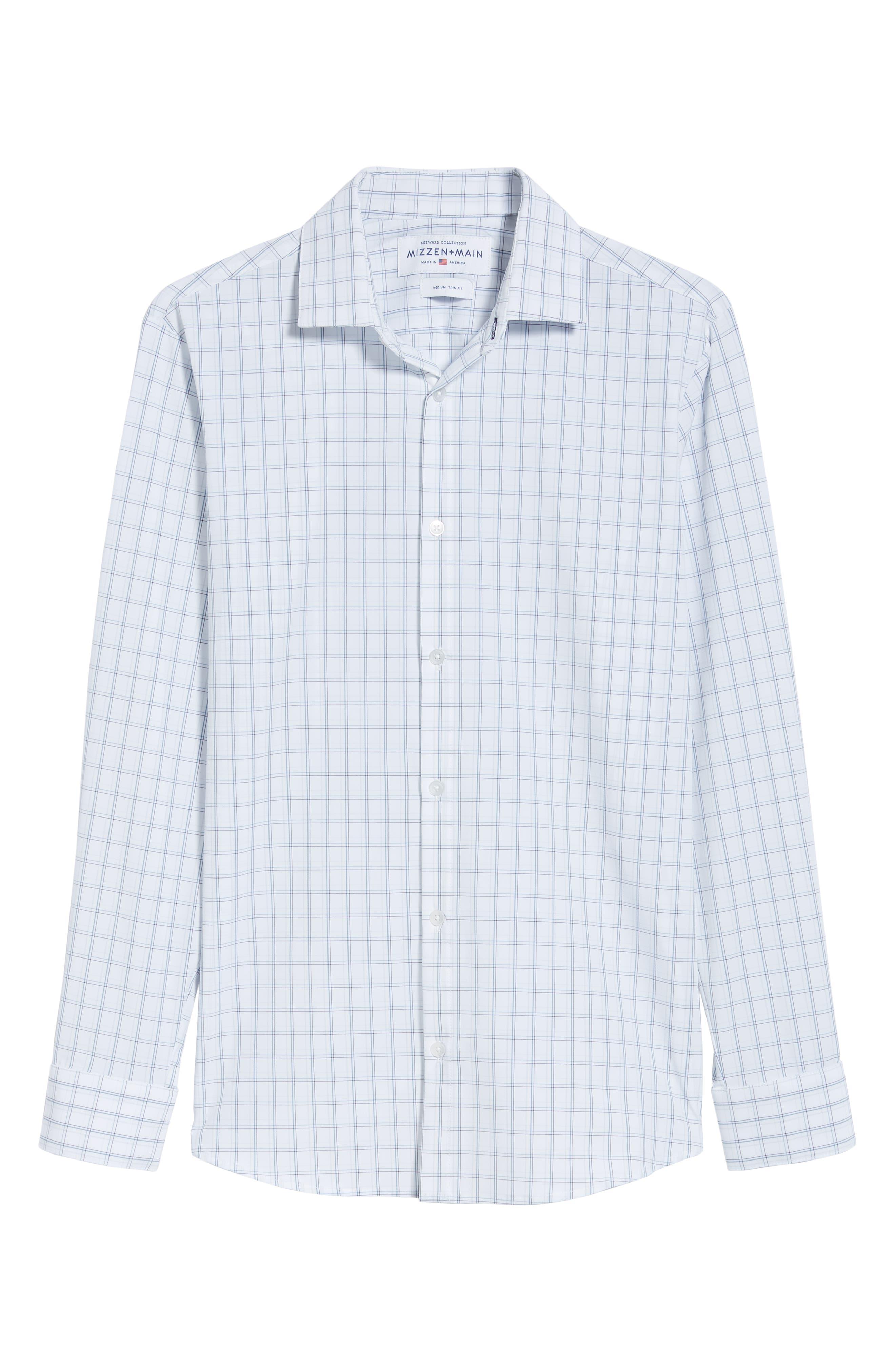 Sanders Slim Fit Check Performance Sport Shirt,                             Alternate thumbnail 5, color,                             WHITE