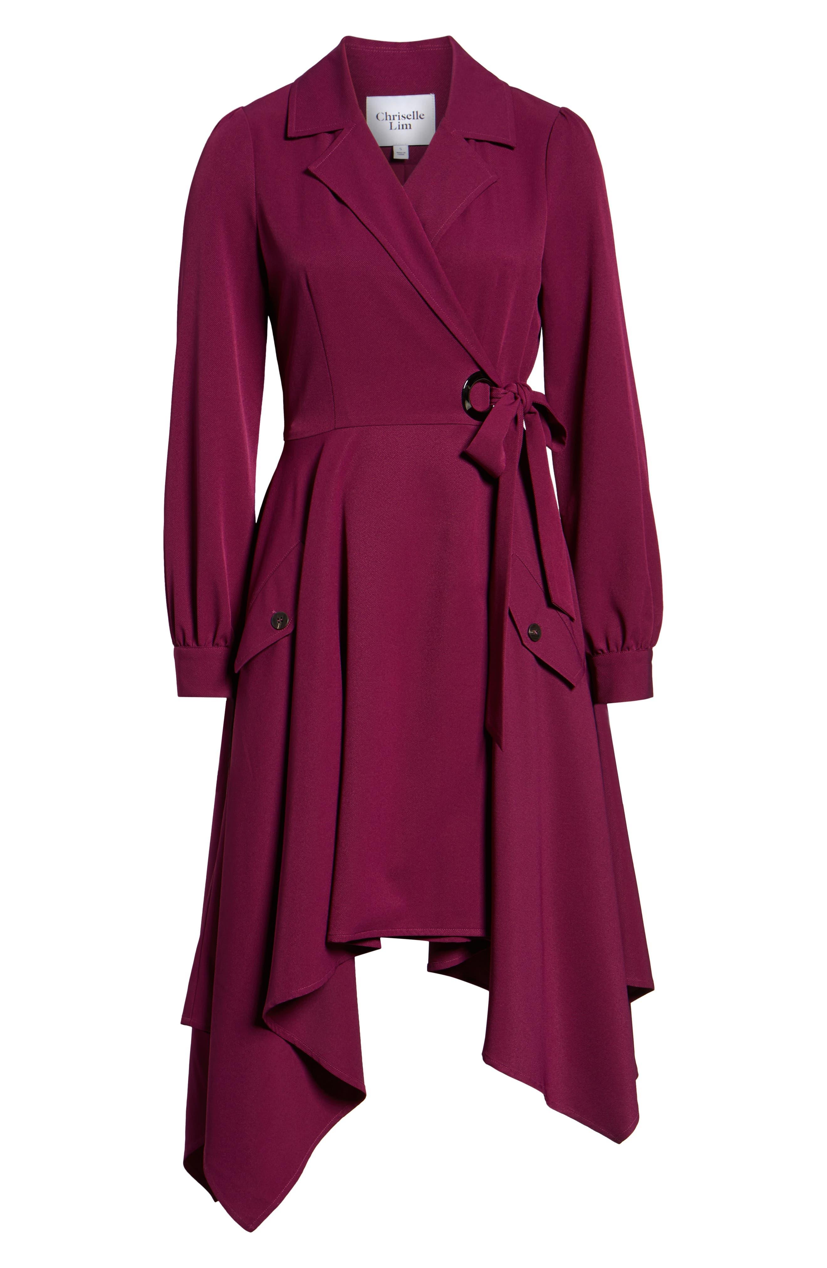 Chriselle Lim Wren Trench Dress,                             Alternate thumbnail 7, color,                             MAGENTA