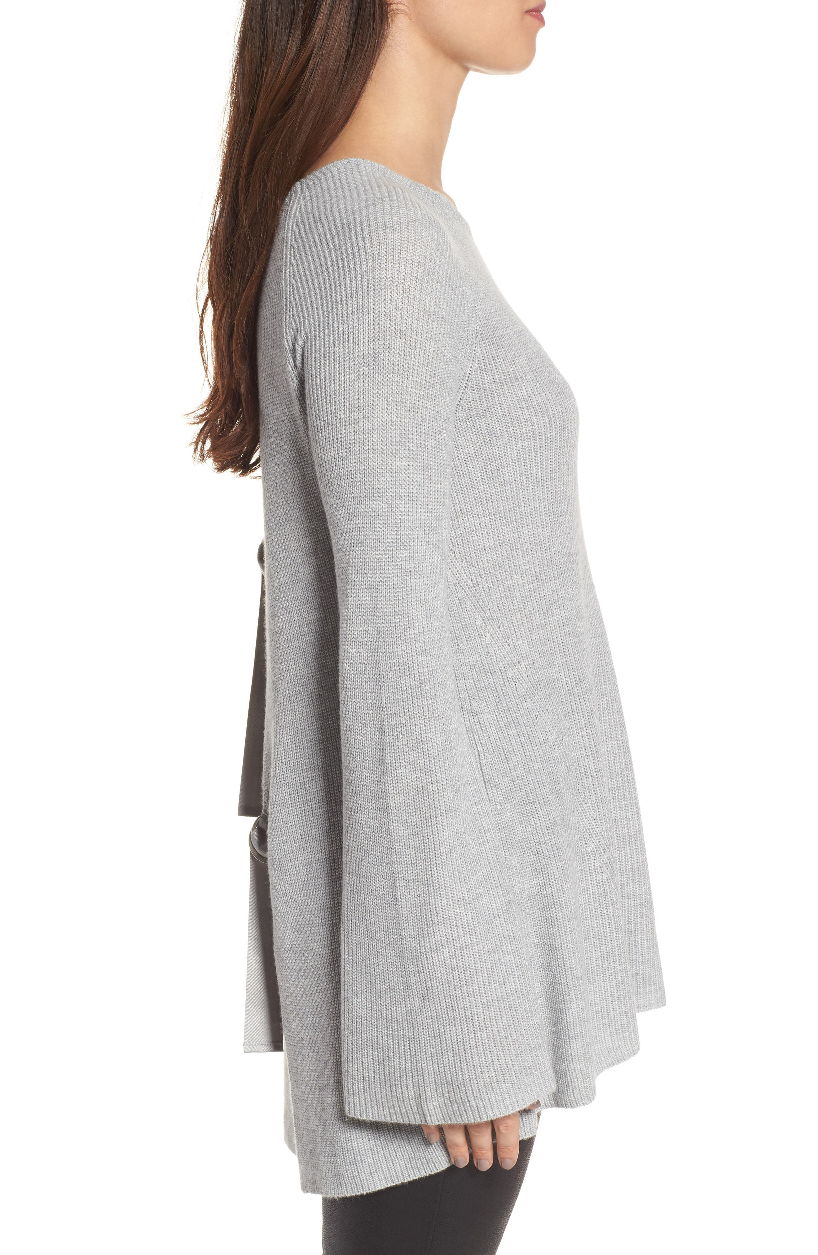 Flare Sleeve Open Back Sweater,                             Alternate thumbnail 3, color,                             030