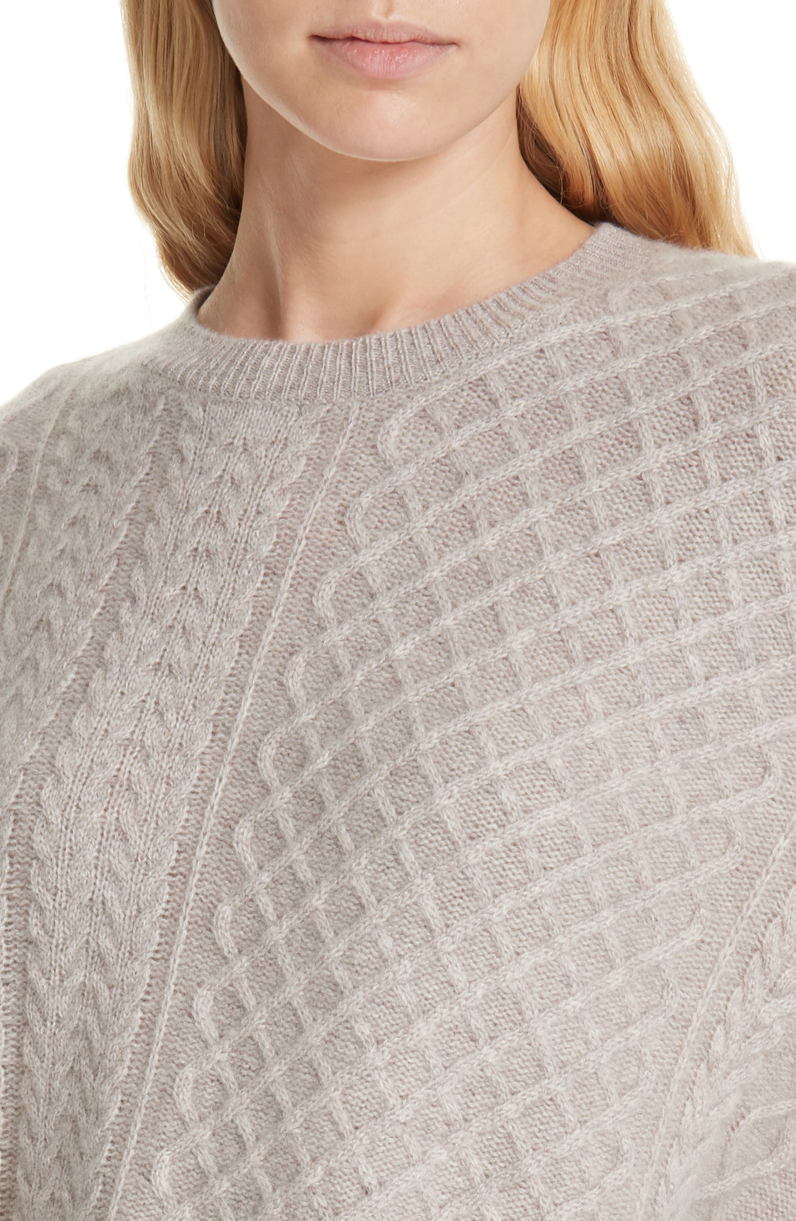 Cable Mix Asymmetrical Cashmere Sweater,                             Alternate thumbnail 4, color,                             BEIGE STRING HEATHER