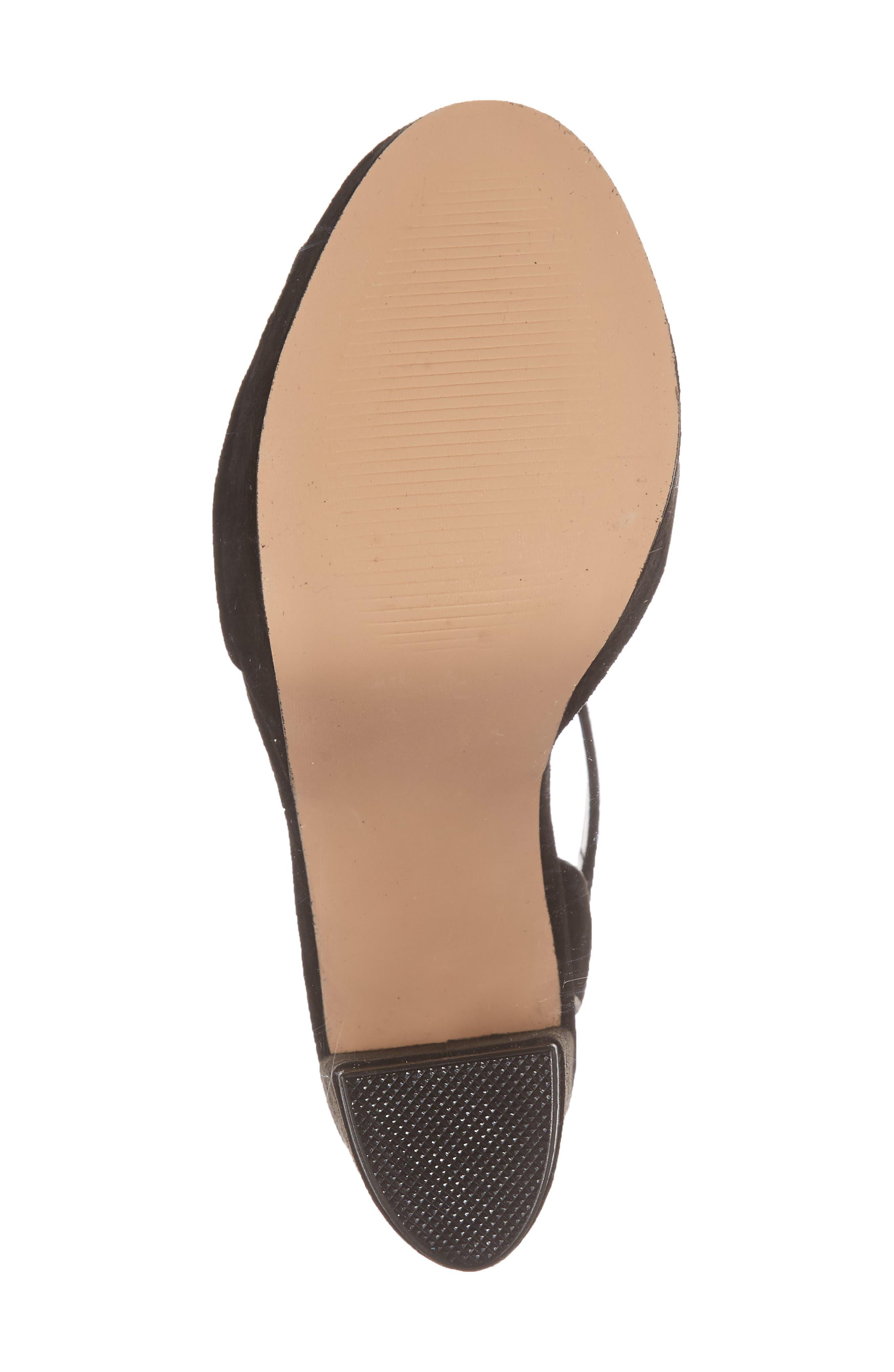 Madeline Platform Sandal,                             Alternate thumbnail 6, color,                             BLACK SUEDE