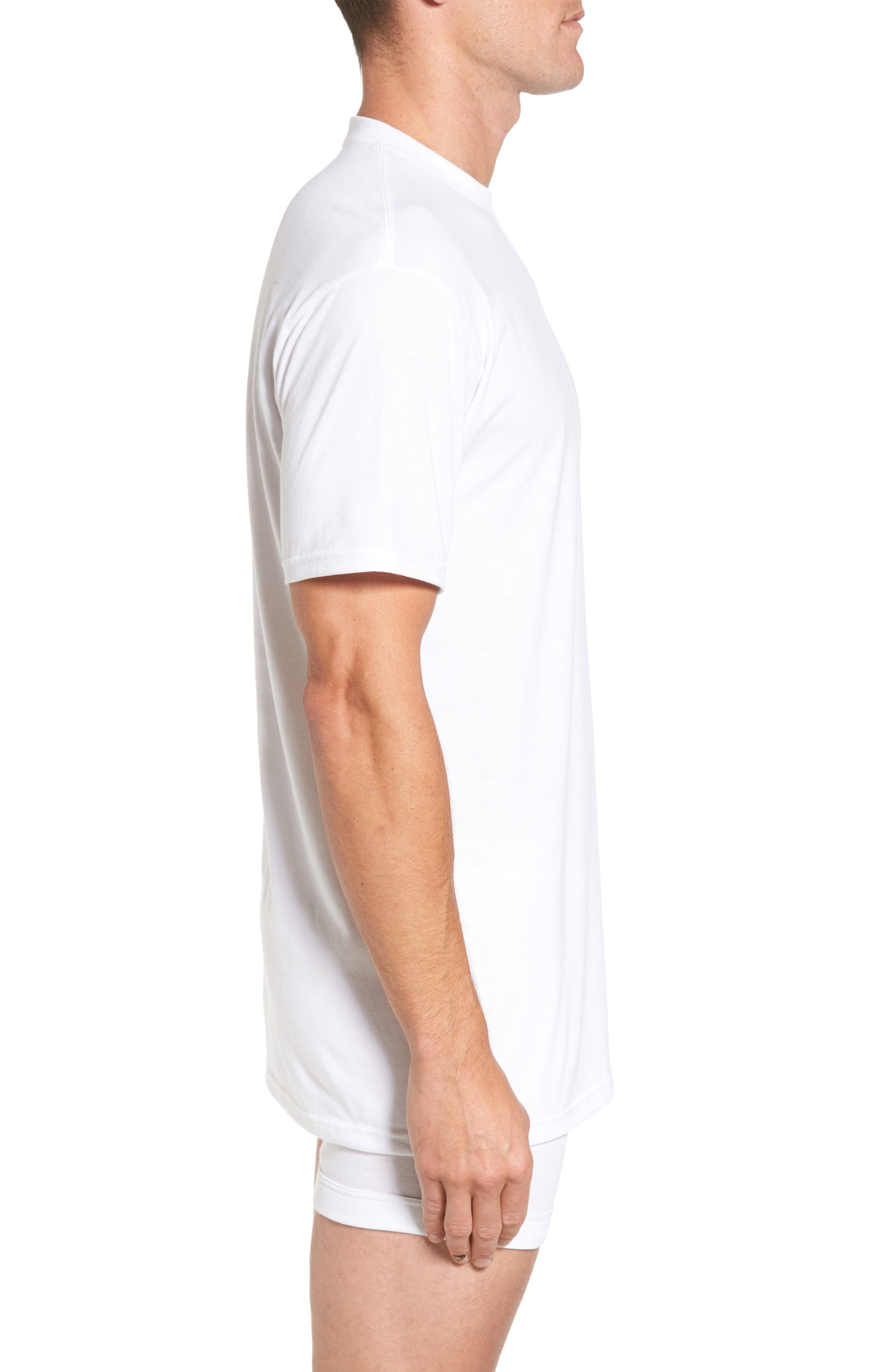 Regular Fit 4-Pack Supima<sup>®</sup> Cotton T-Shirts,                             Alternate thumbnail 3, color,                             WHITE