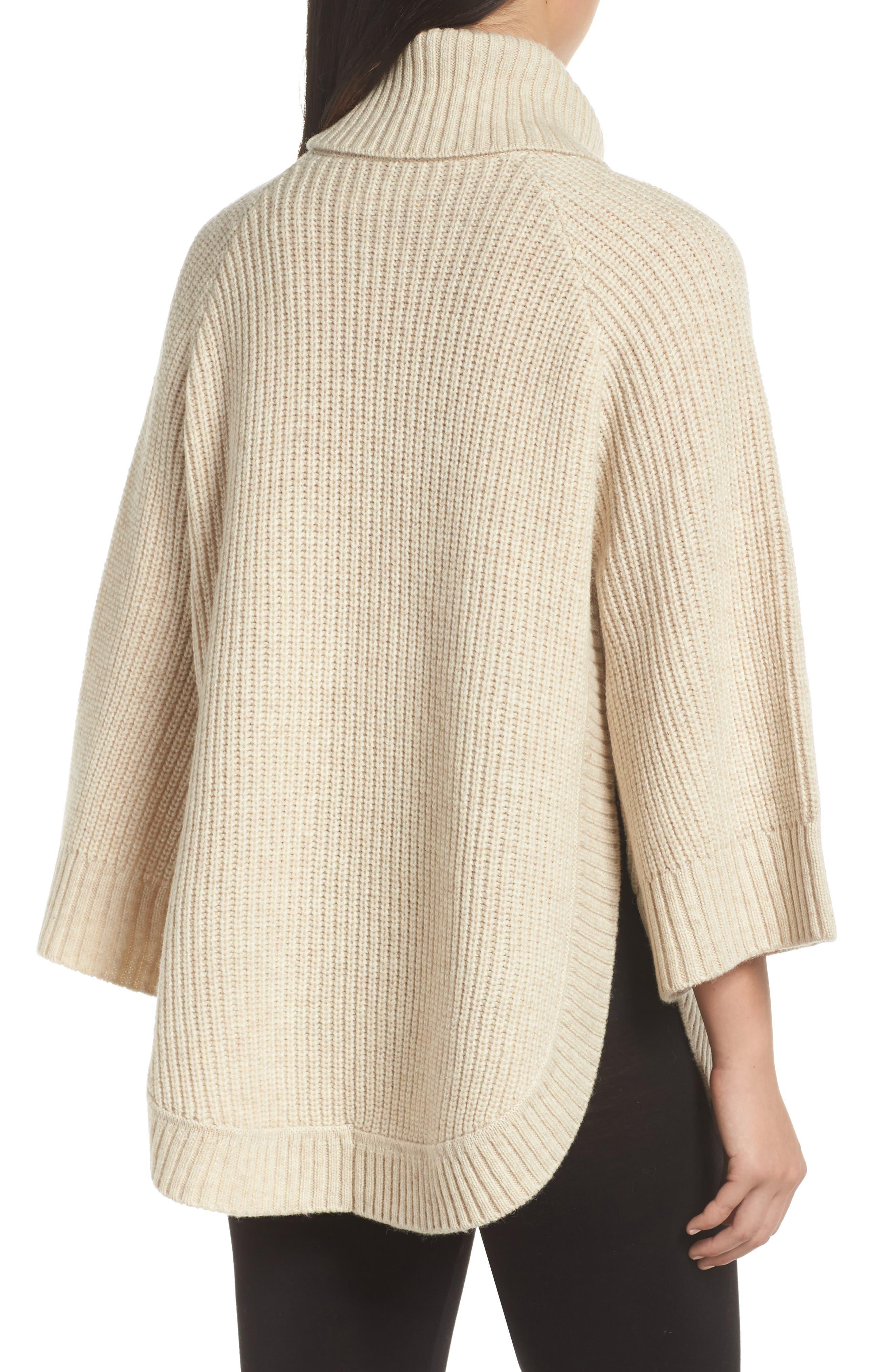 Raelynn Sweater Poncho,                             Alternate thumbnail 2, color,                             CREAM HEATHER