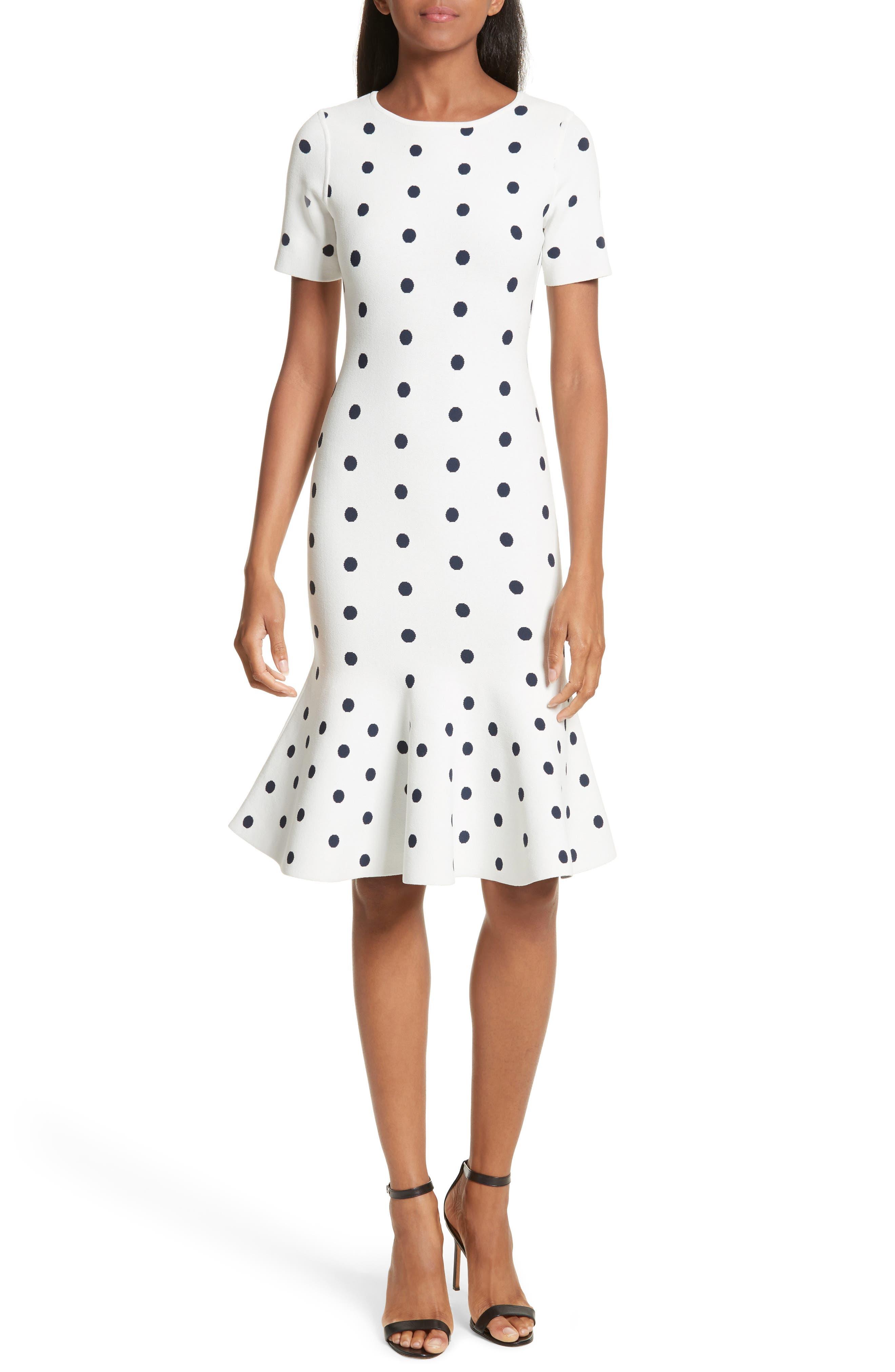 Polka Dot Mermaid Dress,                         Main,                         color, WHITE/ NAVY
