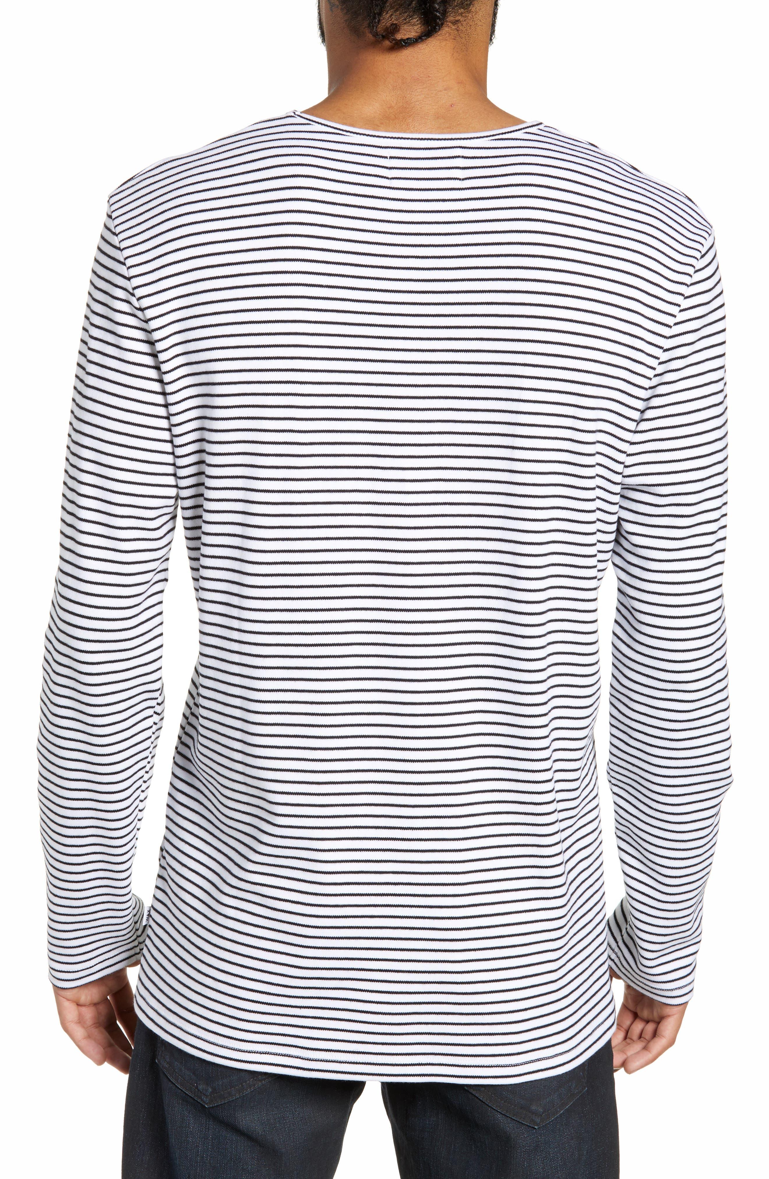 Finham Stripe Long Sleeve T-Shirt,                             Alternate thumbnail 2, color,                             WHITE / BLACK STRIPE