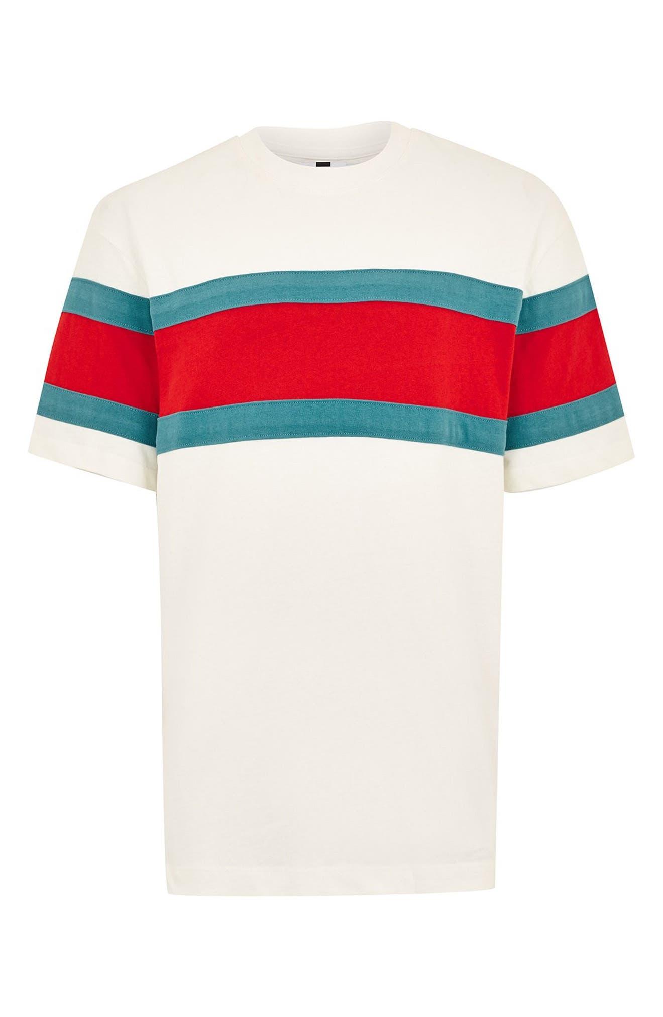Oversize Stripe T-Shirt,                             Alternate thumbnail 4, color,                             101