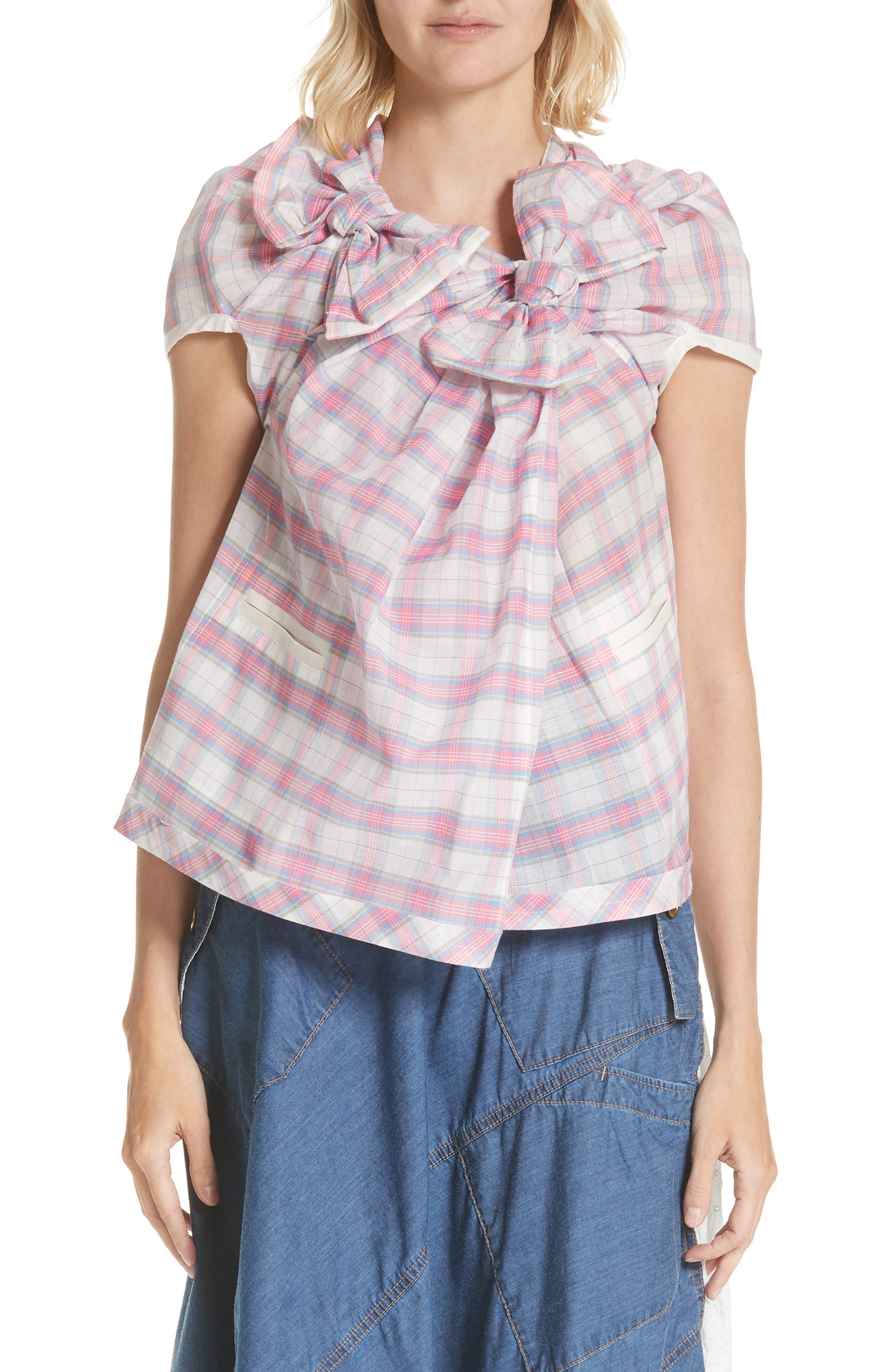 Plaid Cross Front Top,                         Main,                         color, B PATTERN