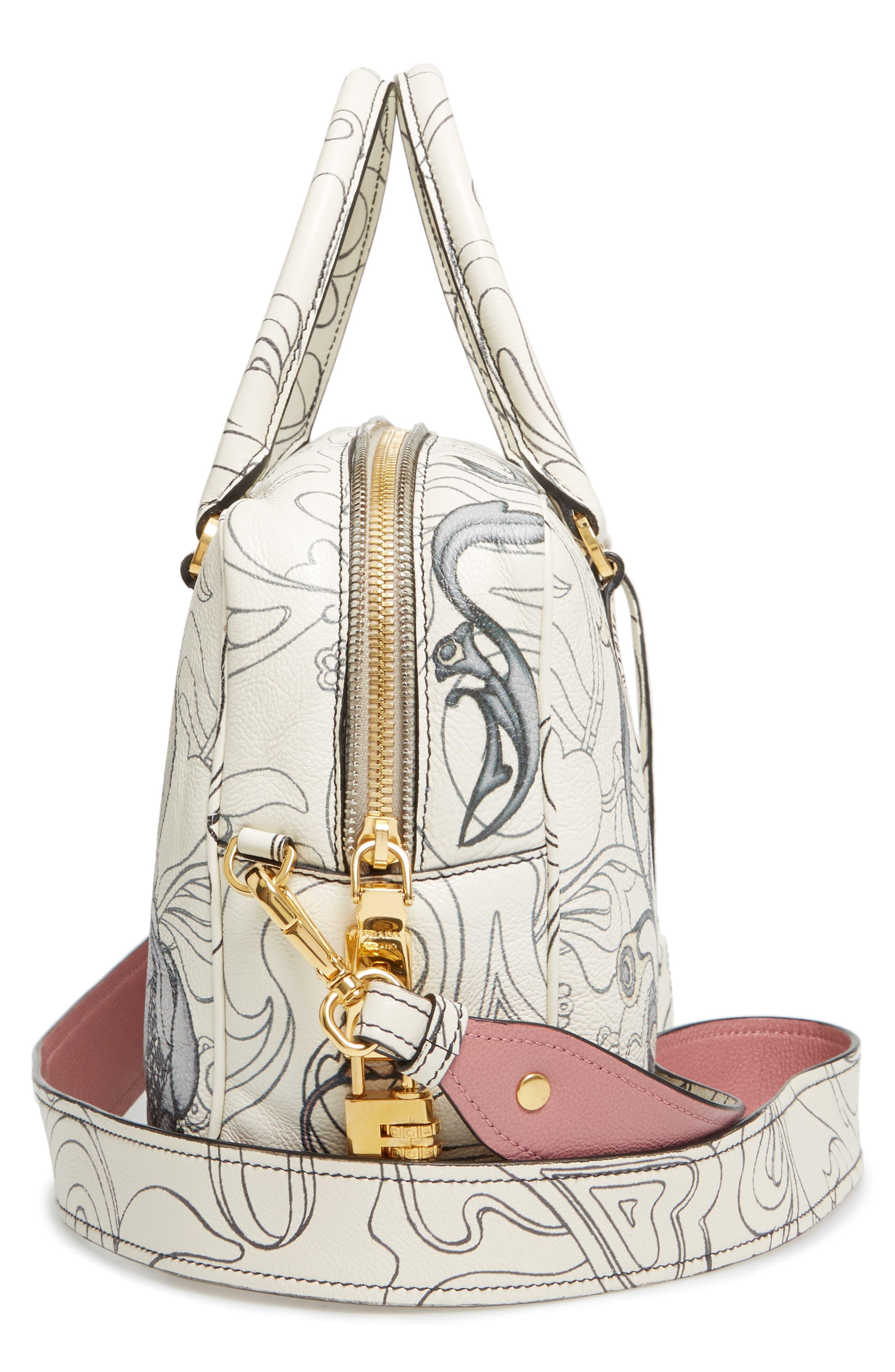 Glace Calfskin Rabbit Bowler Bag,                             Alternate thumbnail 5, color,                             100