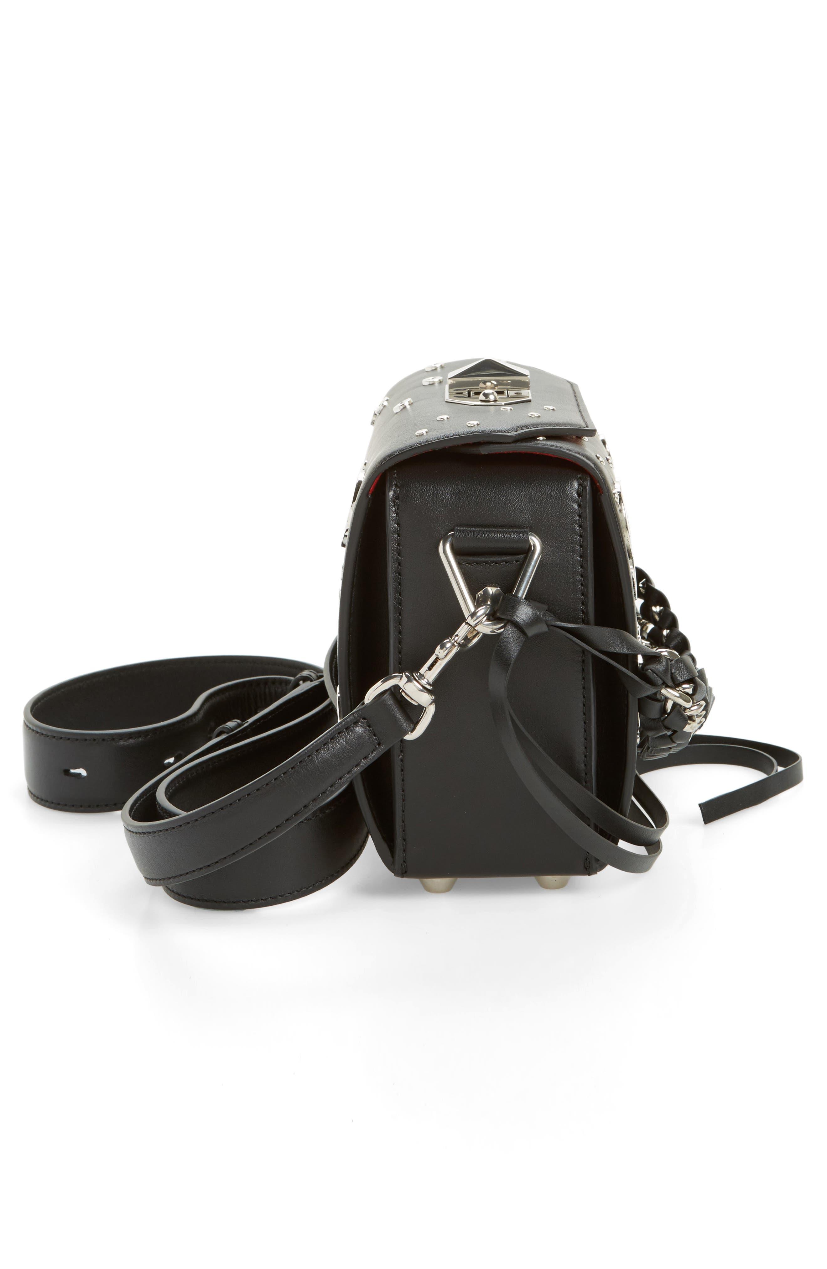 Grommet & Stud Calfskin Leather Box Bag,                             Alternate thumbnail 5, color,                             001