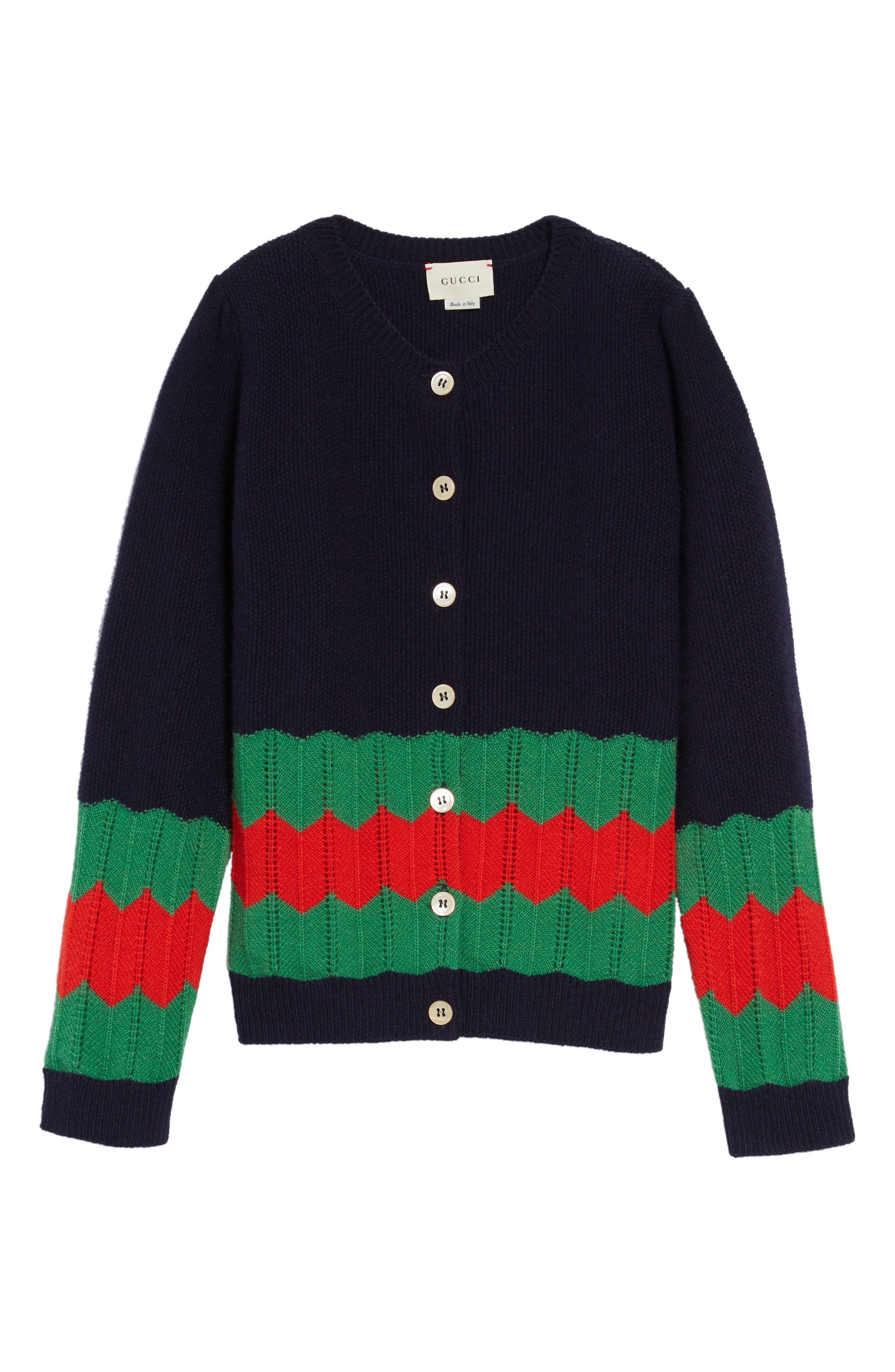Wool Knit Cardigan, Main, color, NAVY/ GRASS/ LIVE RED