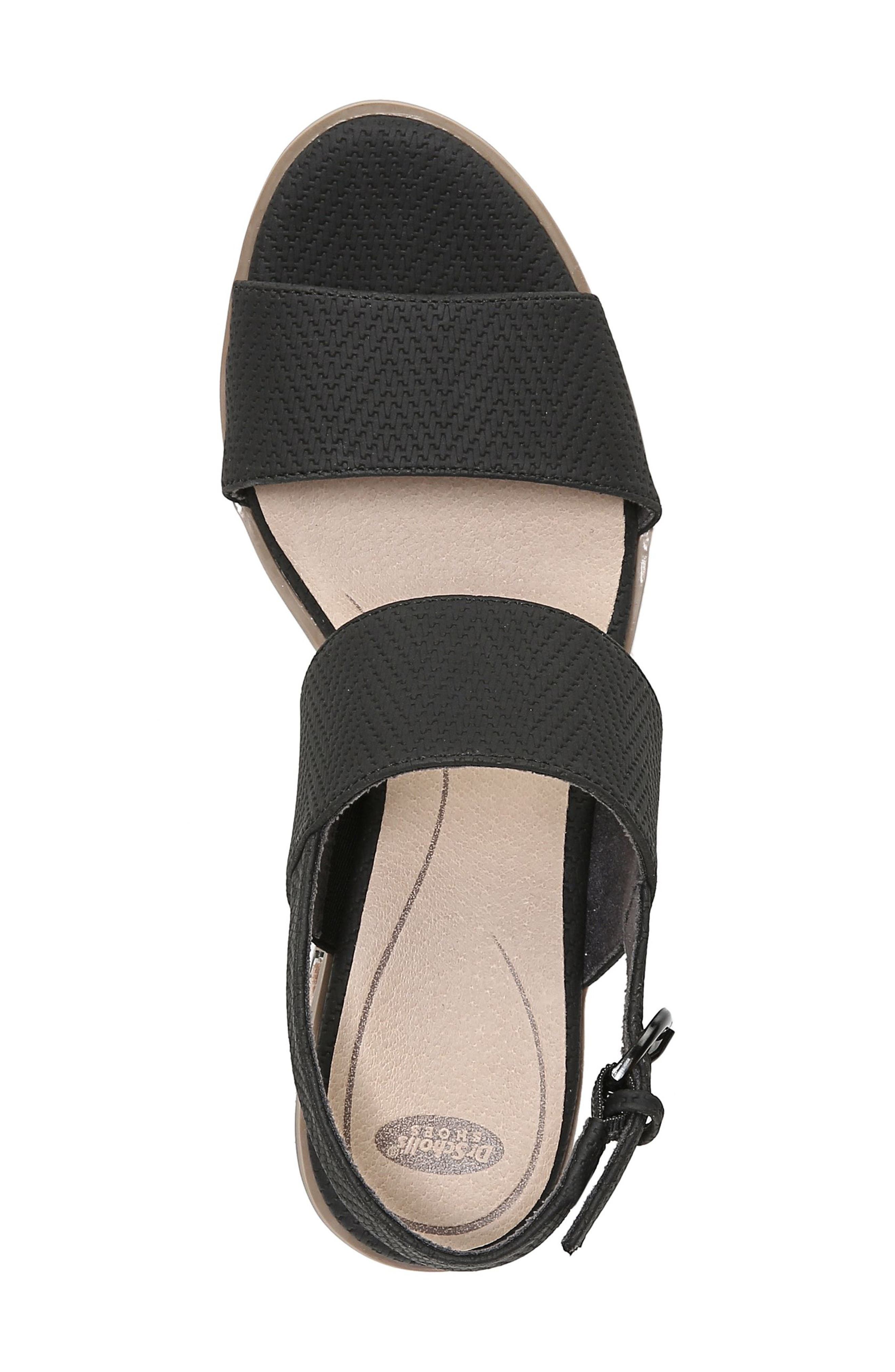 Sure Thing Sandal,                             Alternate thumbnail 5, color,                             BLACK FAUX LEATHER
