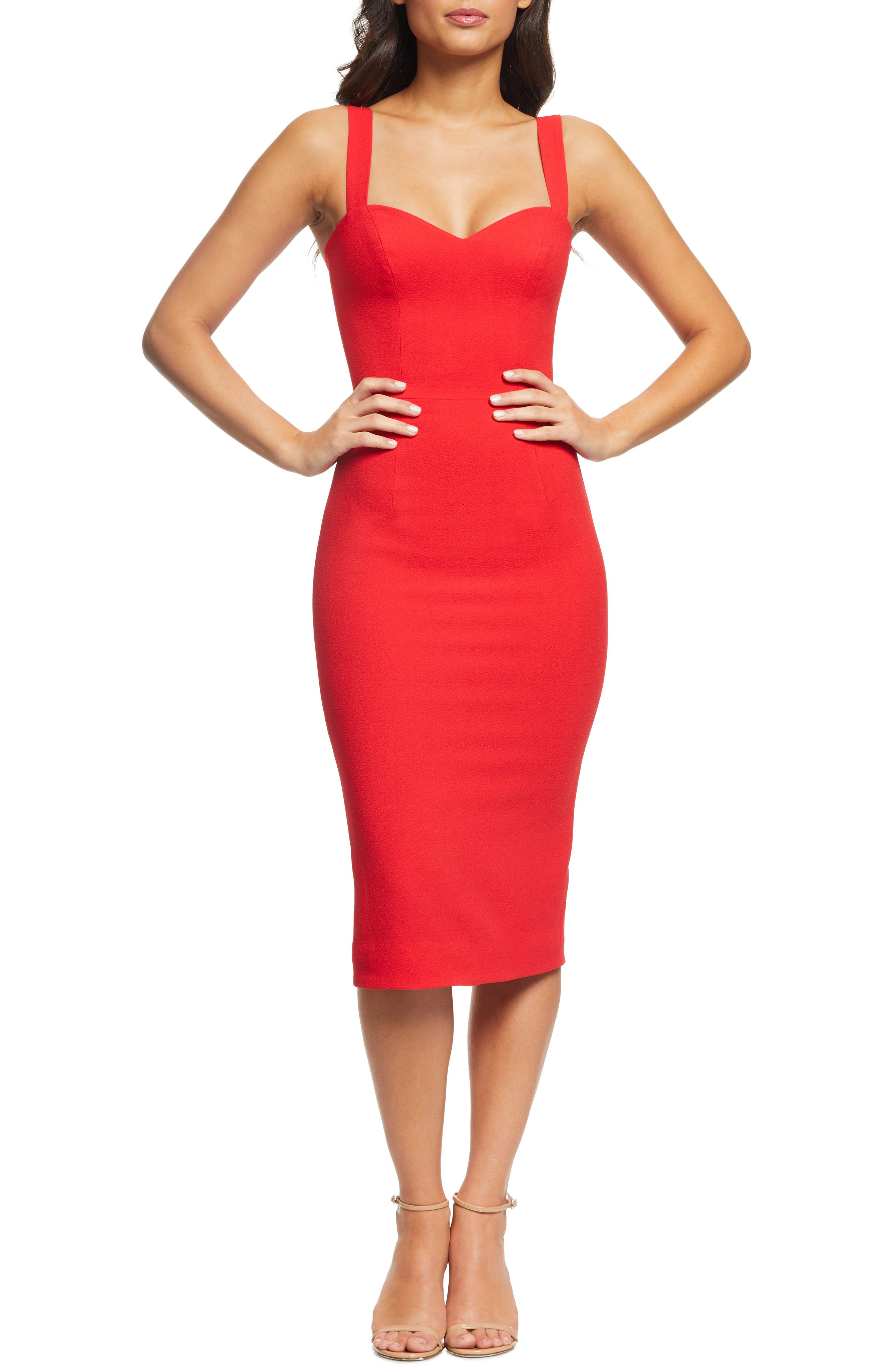 Dress The Population Nicole Sweetheart Neck Cocktail Dress, Red
