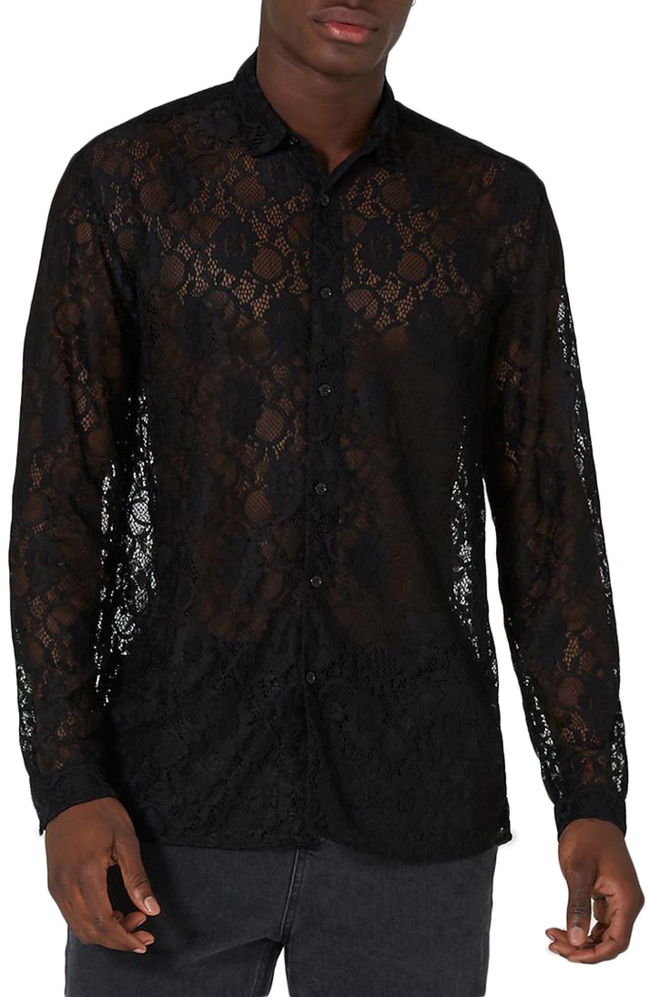 Muscle Fit Sheer Lace Shirt,                             Main thumbnail 1, color,                             001
