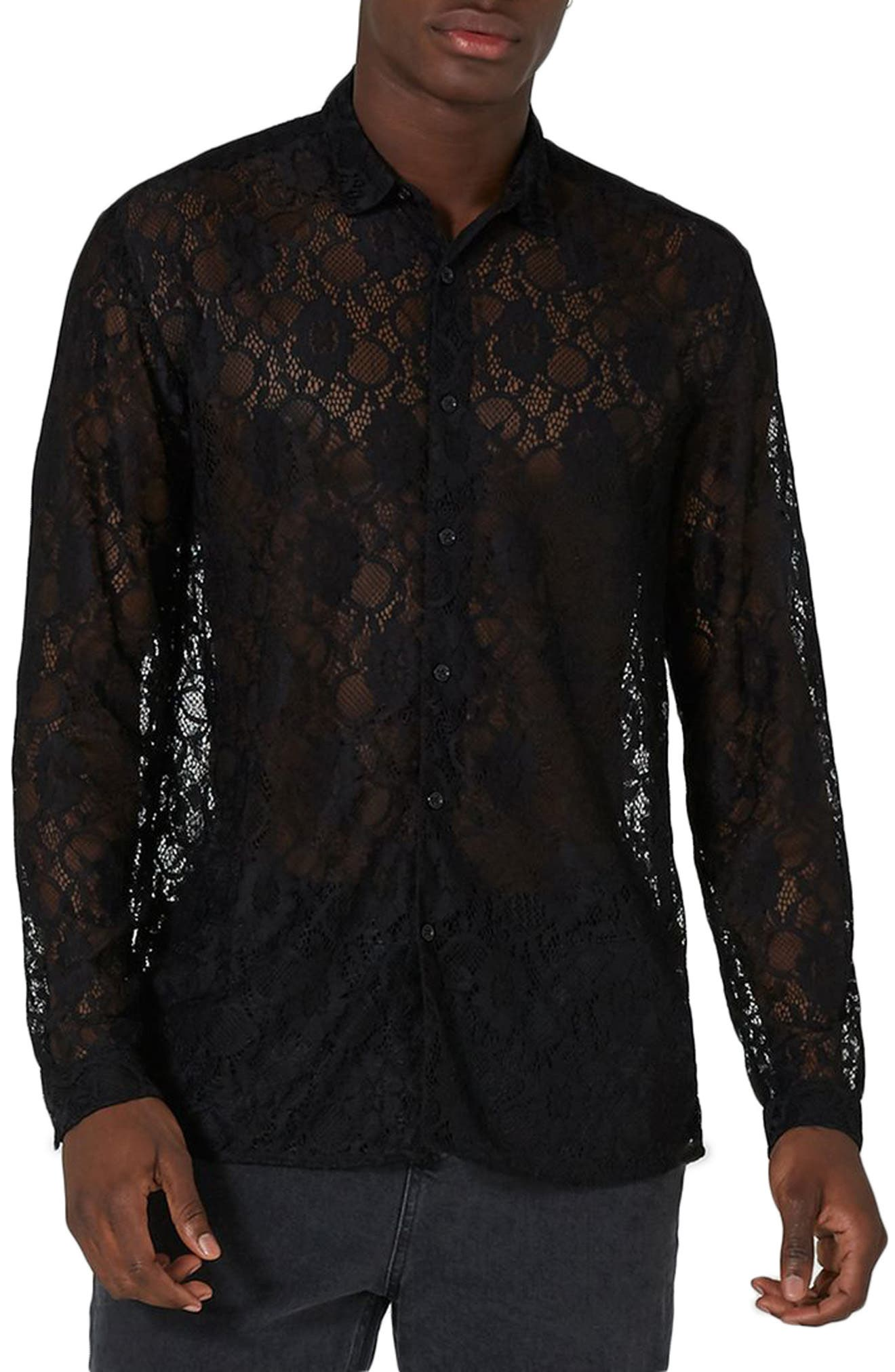Muscle Fit Sheer Lace Shirt,                         Main,                         color, 001