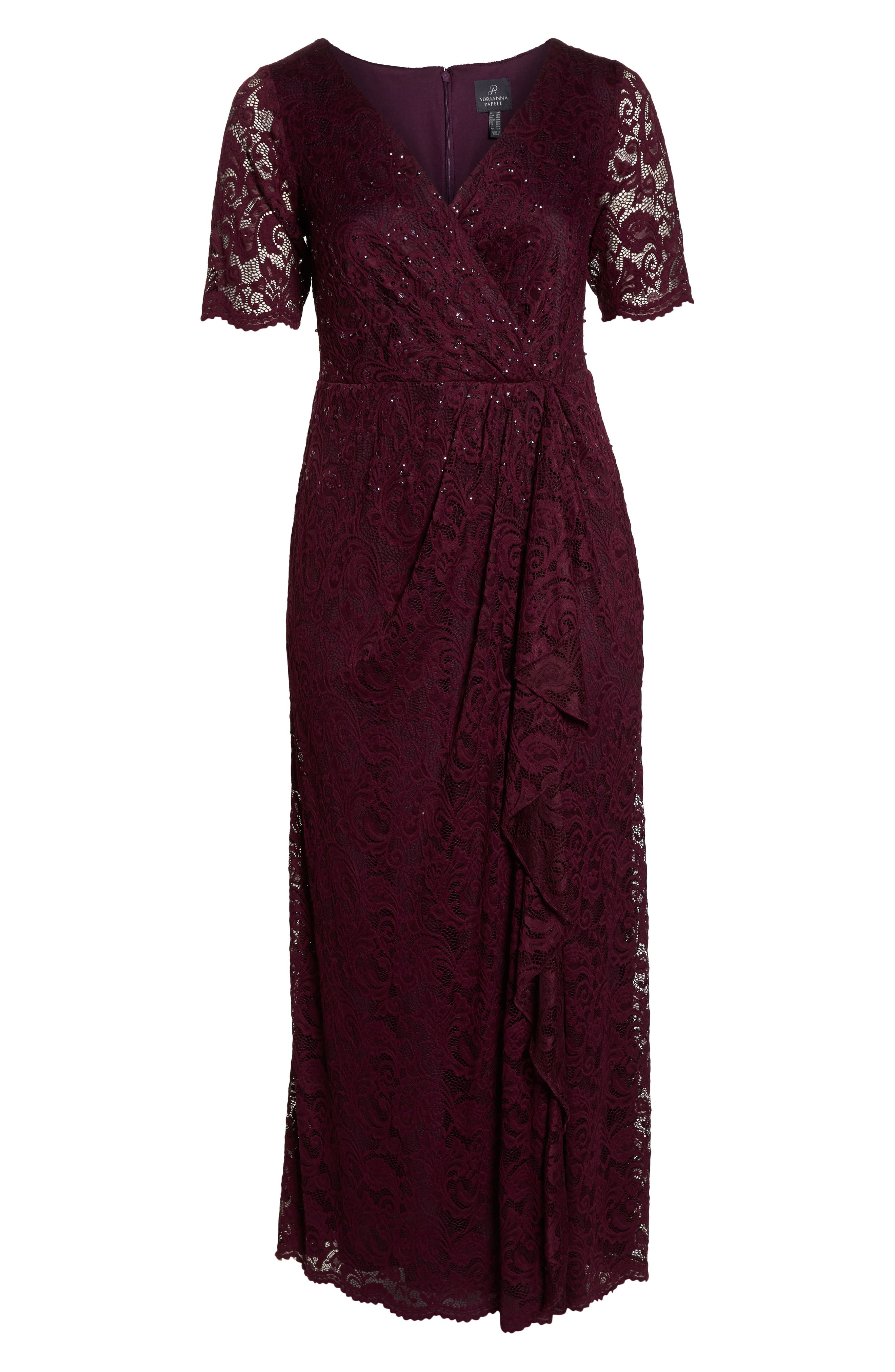 Cascade Ruffle Sequin Lace Gown,                             Alternate thumbnail 7, color,                             600