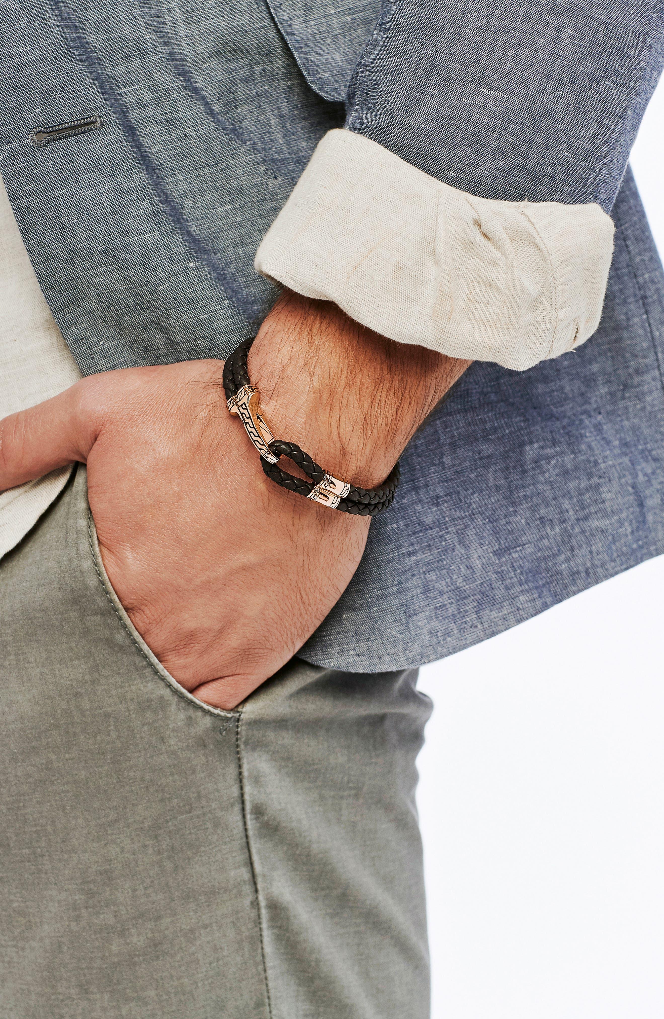 Classic Double Leather Chain Bronze Hook Bracelet,                             Alternate thumbnail 2, color,                             BRONZE