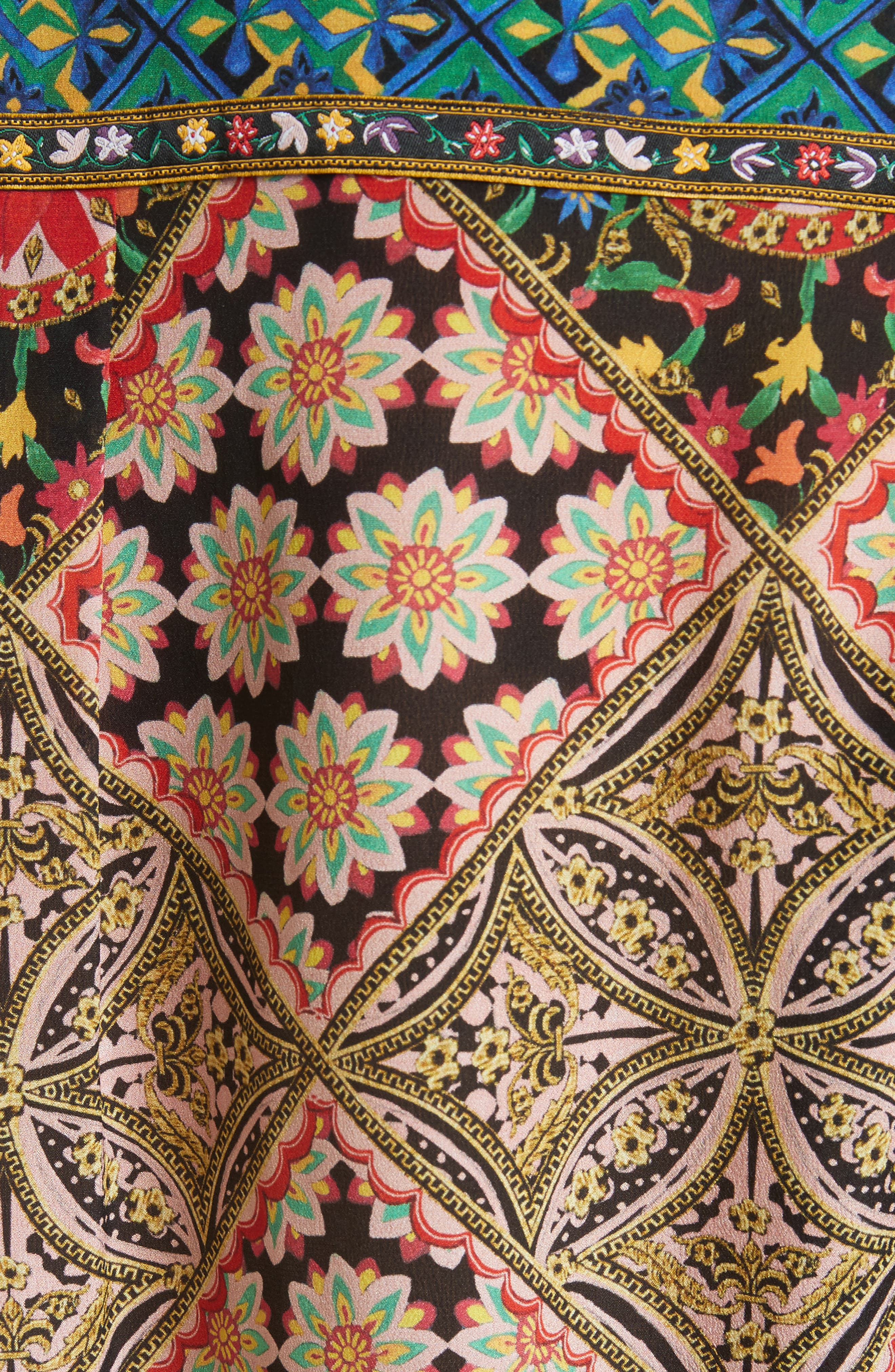 Patchwork Print Silk Shirt,                             Alternate thumbnail 5, color,
