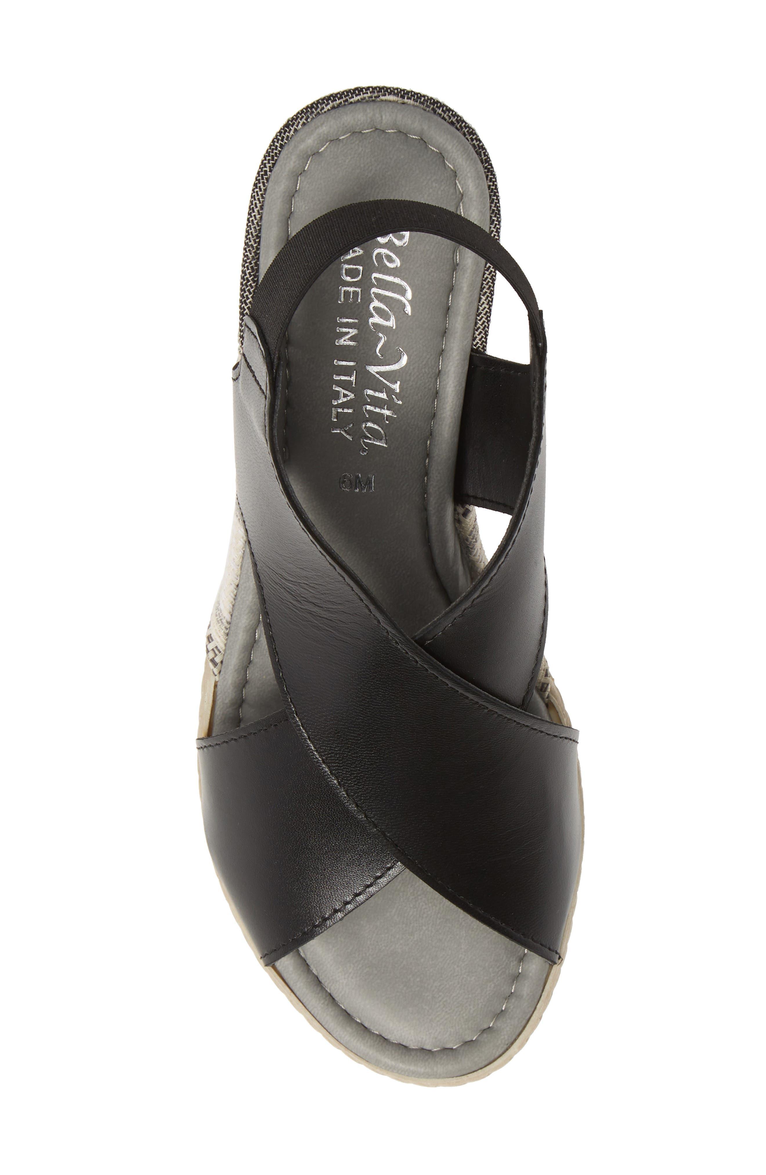 Slingback Sandal,                             Alternate thumbnail 5, color,                             BLACK ITALIAN LEATHER