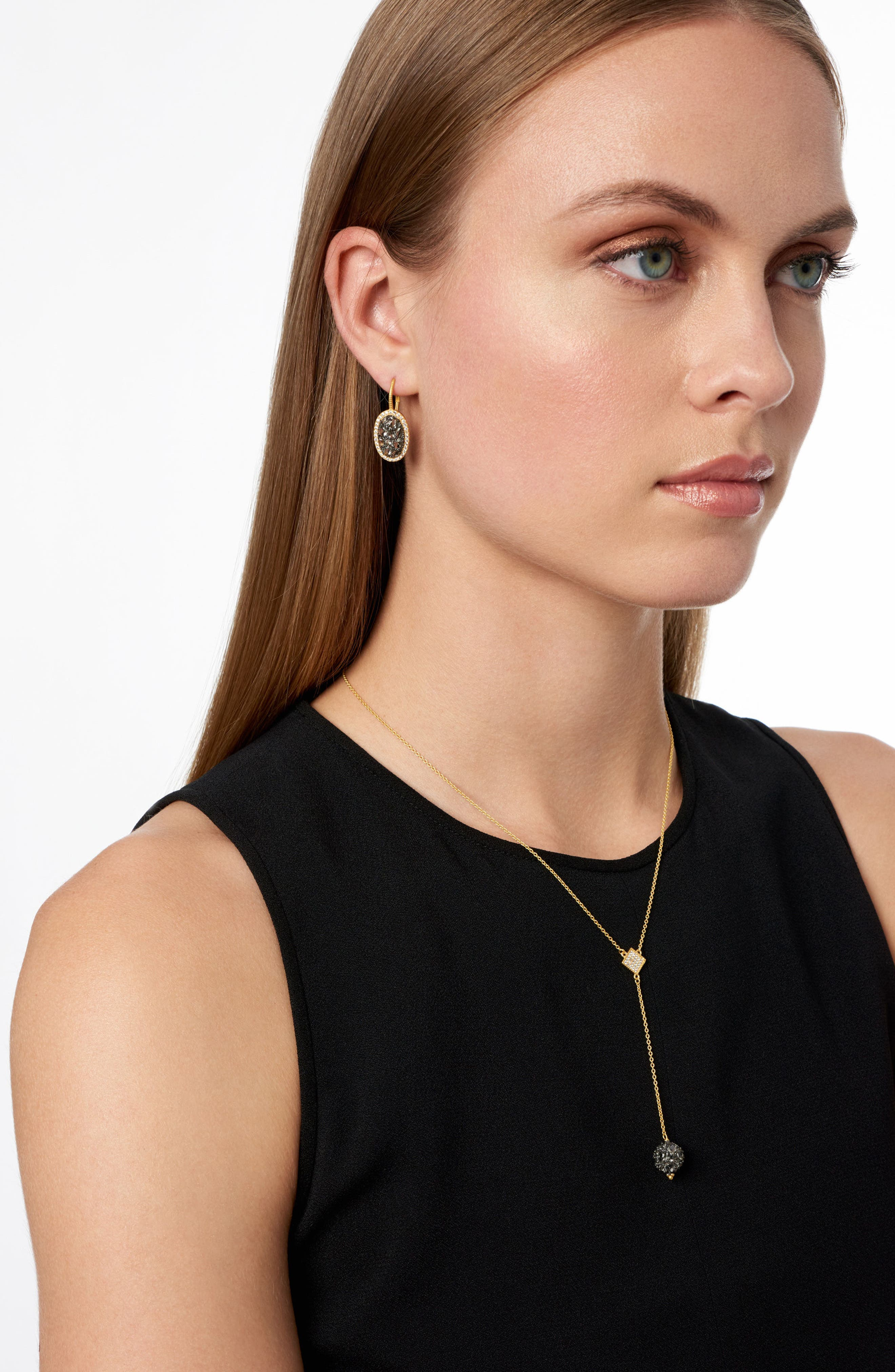 Rose Dor Stone Earrings,                             Alternate thumbnail 2, color,                             BLACK/ GOLD