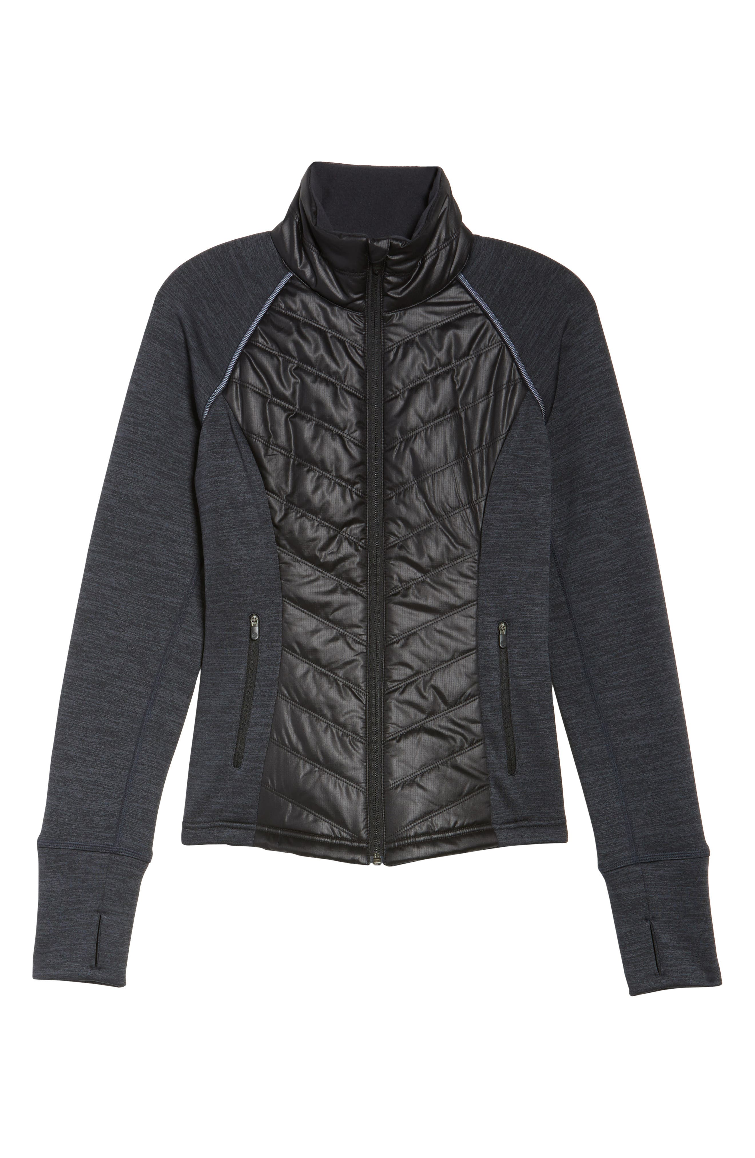 Zelfusion Reflective Quilted Jacket,                             Alternate thumbnail 6, color,                             001