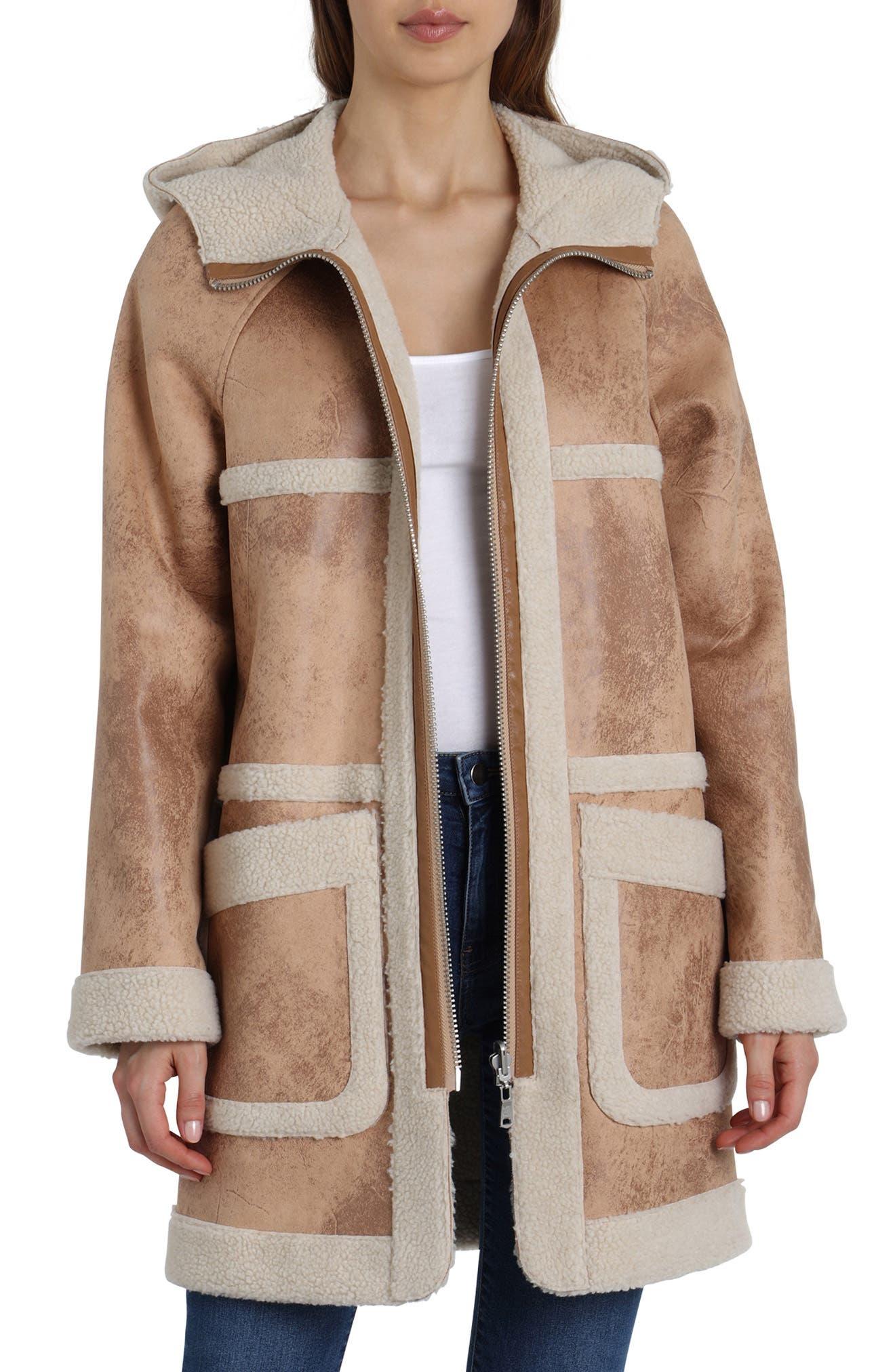 Reversible Faux Shearling Coat,                         Main,                         color, TAN
