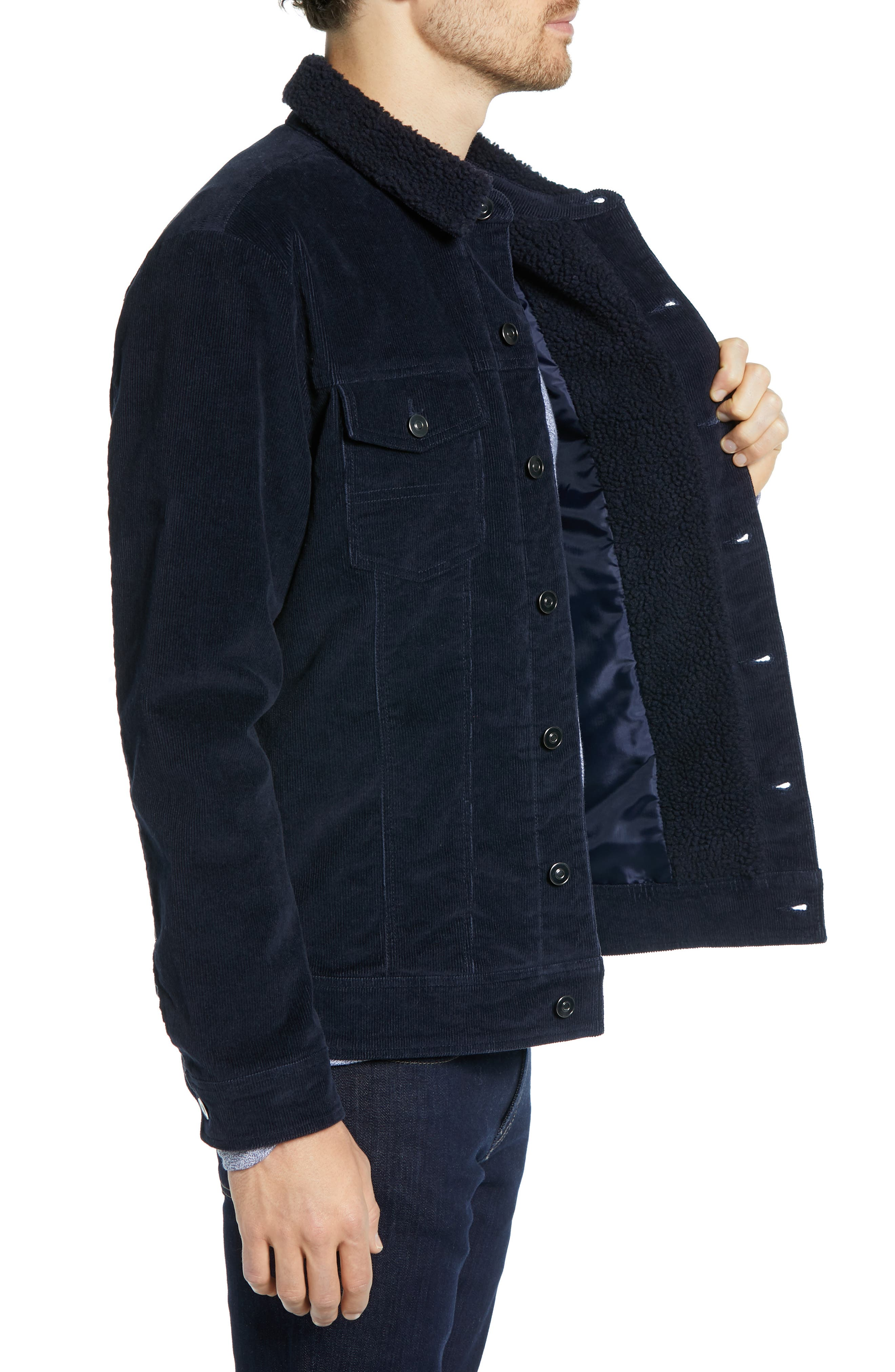 Regular Fit Faux Shearling Trim Corduroy Trucker Jacket,                             Alternate thumbnail 3, color,                             NAVY NIGHT
