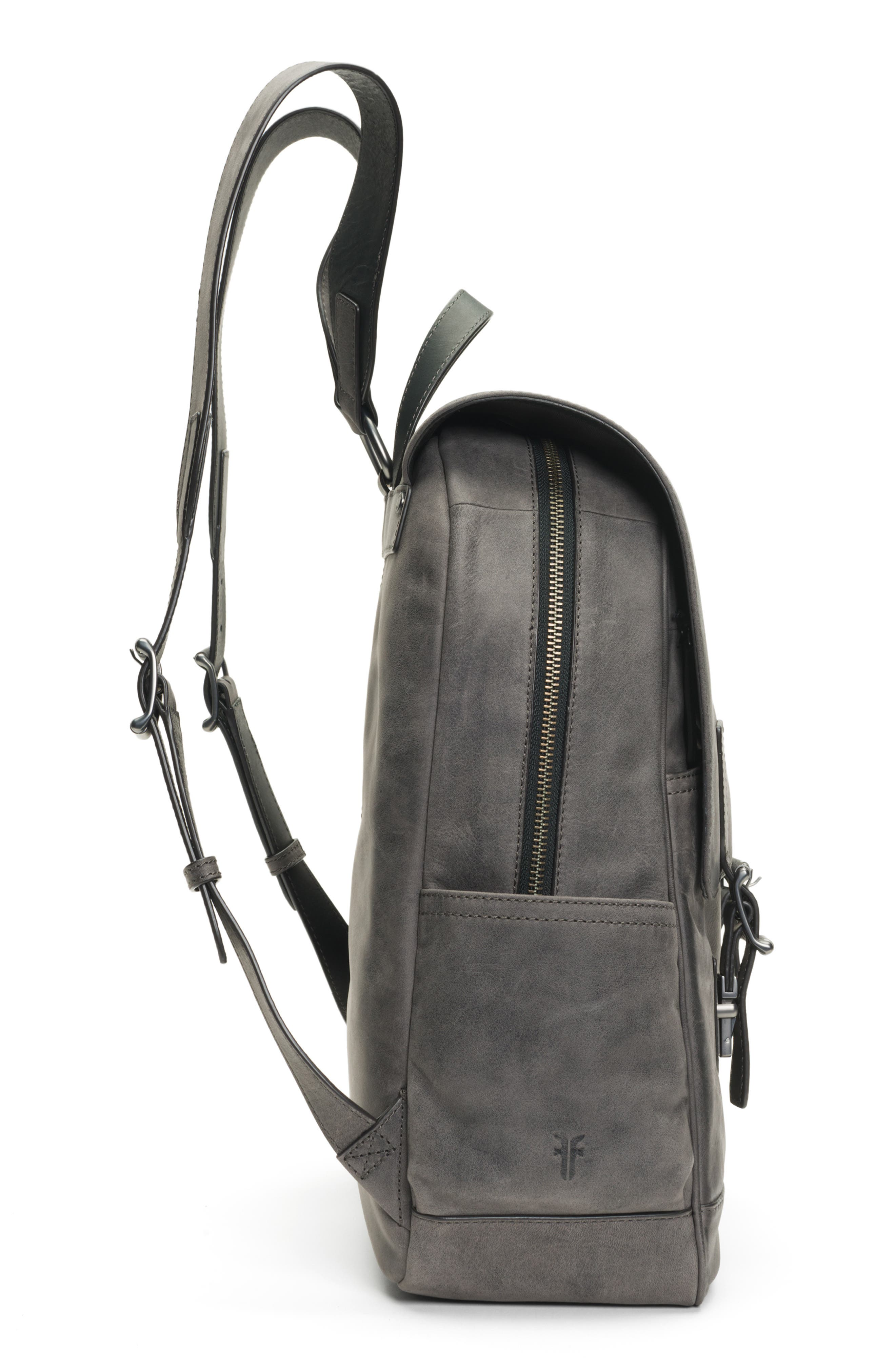 Oliver Leather Backpack,                             Alternate thumbnail 5, color,                             SLATE