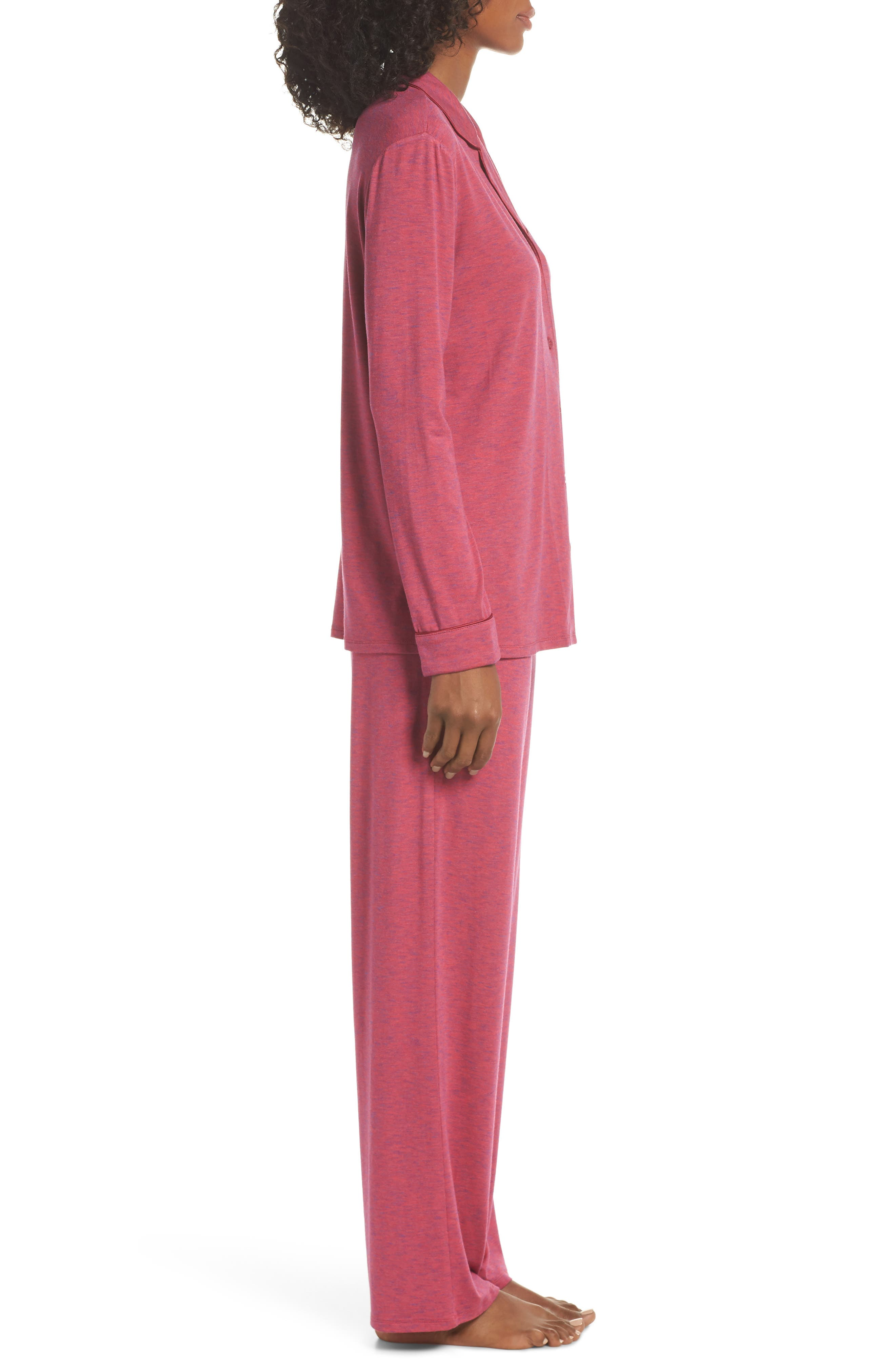 NORDSTROM LINGERIE,                             Moonlight Pajamas,                             Alternate thumbnail 3, color,                             BURGUNDY SPACEDYE