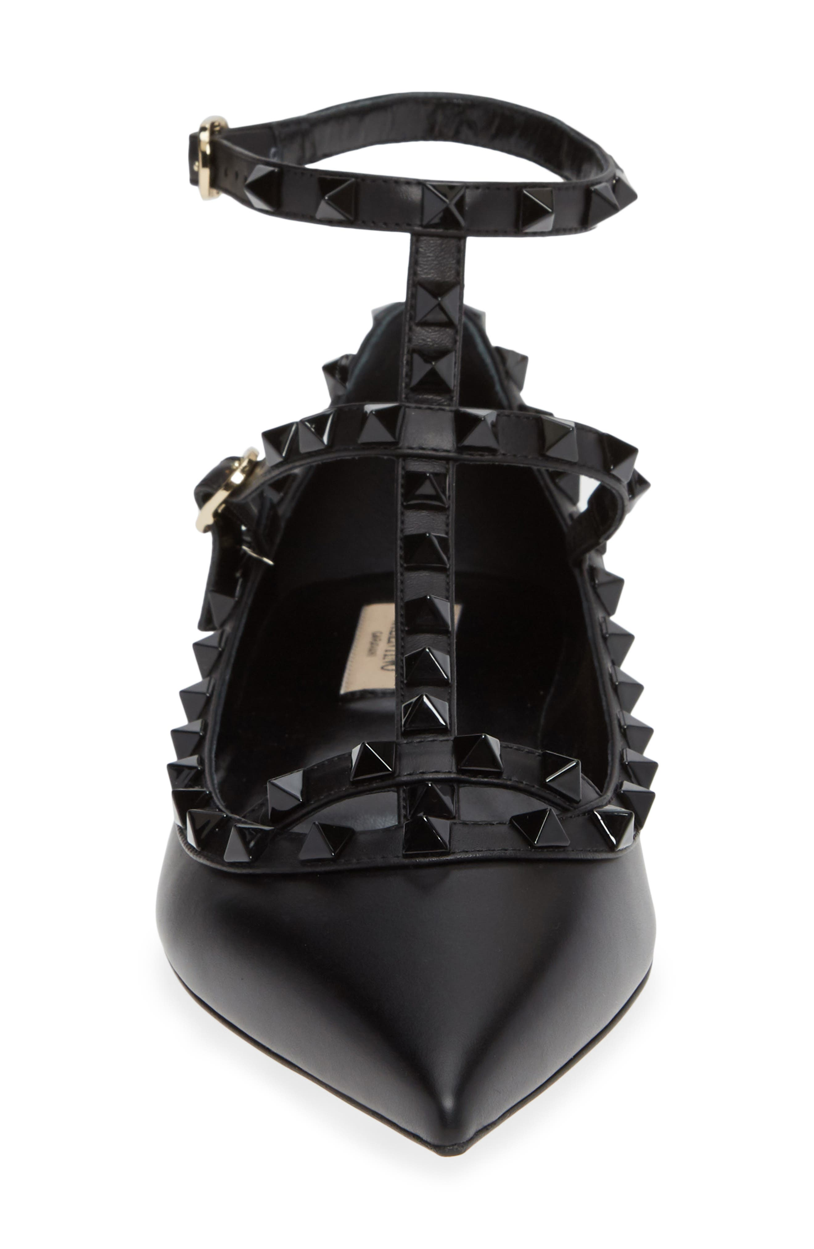 Rockstud Double Ankle Strap Pointy Toe Flat,                             Alternate thumbnail 4, color,                             BLACK