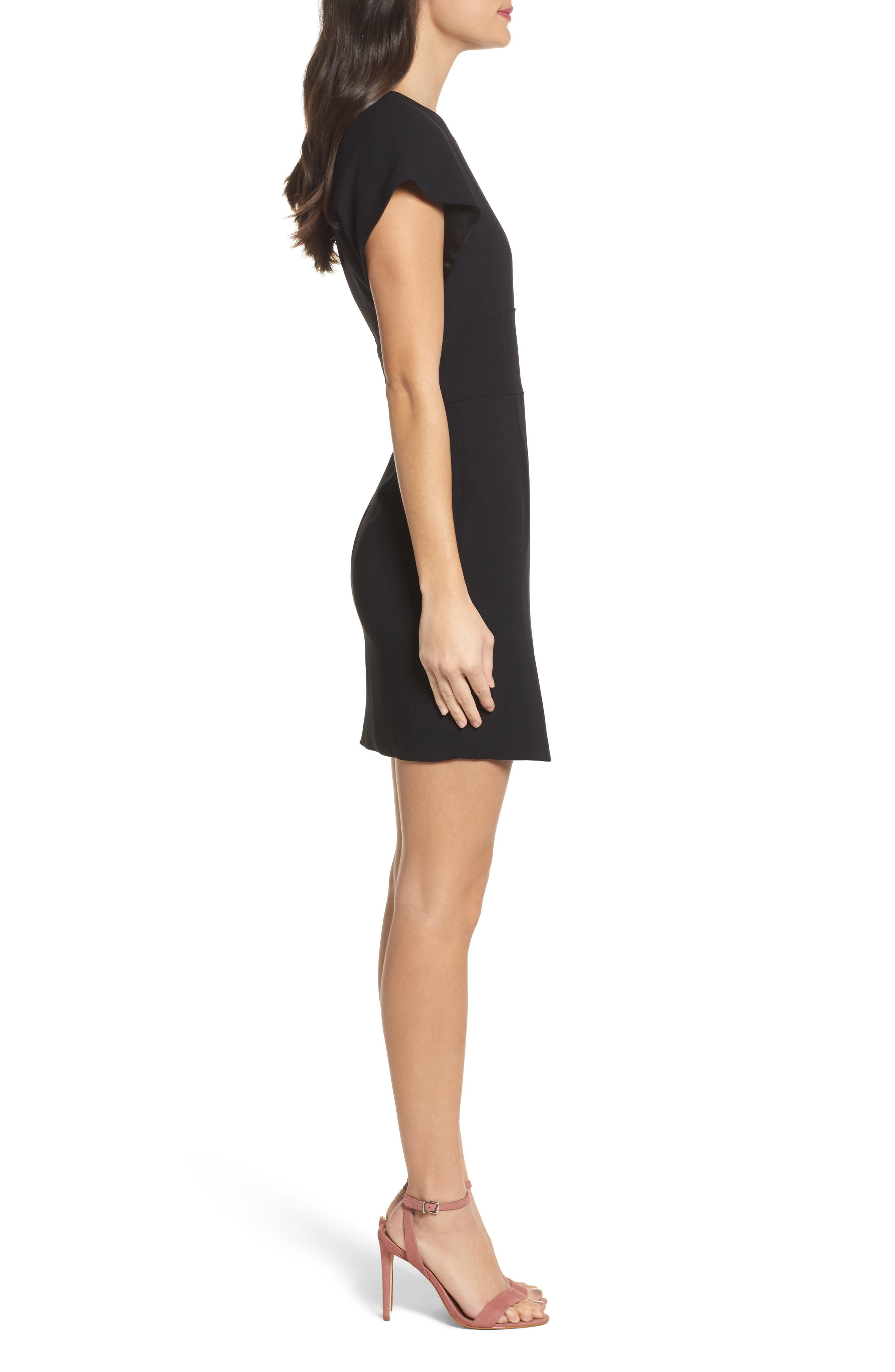 Maxwell Asymmetric Faux Wrap Dress,                             Alternate thumbnail 3, color,                             001