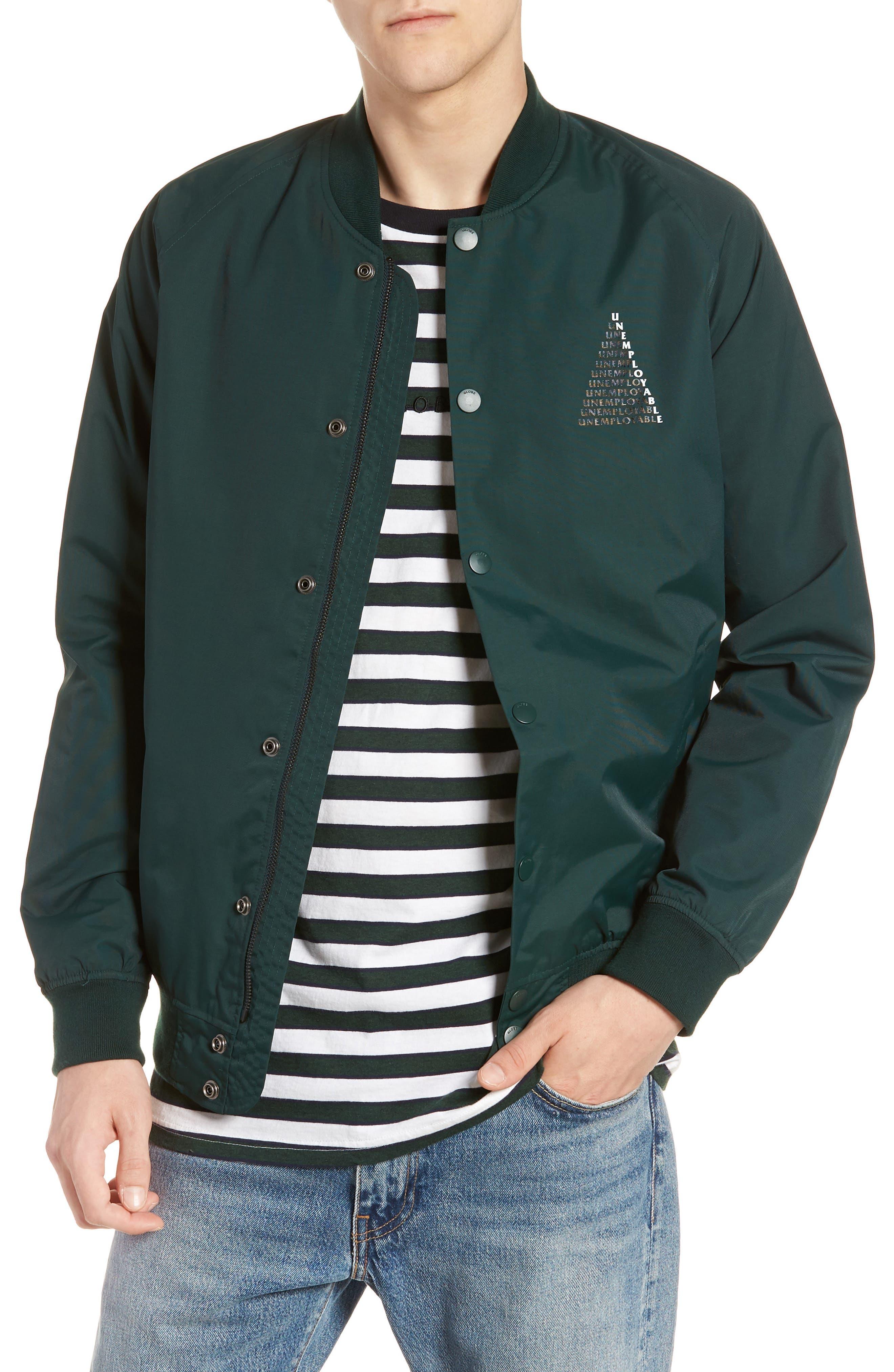 Unemployable Bomber Jacket,                         Main,                         color, BOTTLE GREEN