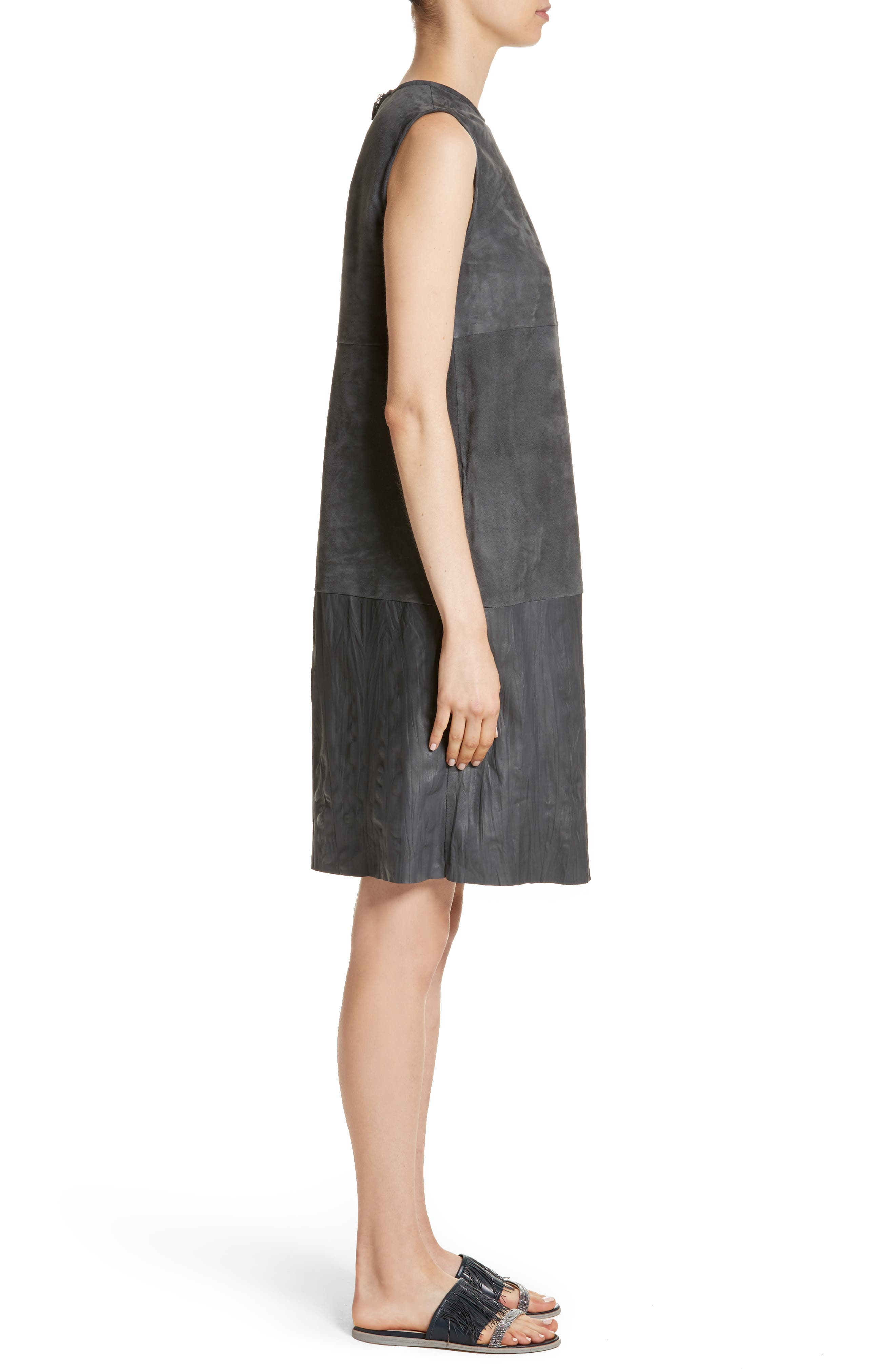 Suede & Crinkled Leather Dress,                             Alternate thumbnail 3, color,