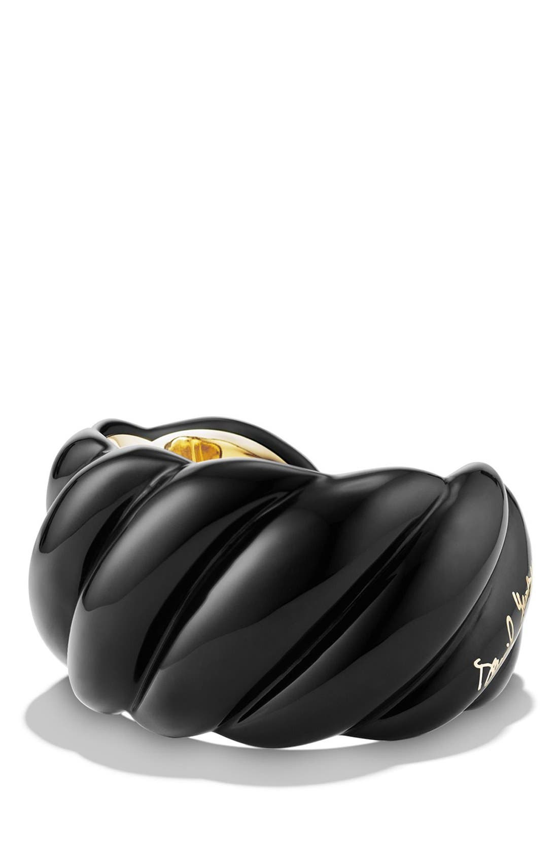 'Sculpted Cable' Resin Cuff Bracelet with 18k Gold,                         Main,                         color, YELLOW GOLD/ BLACK