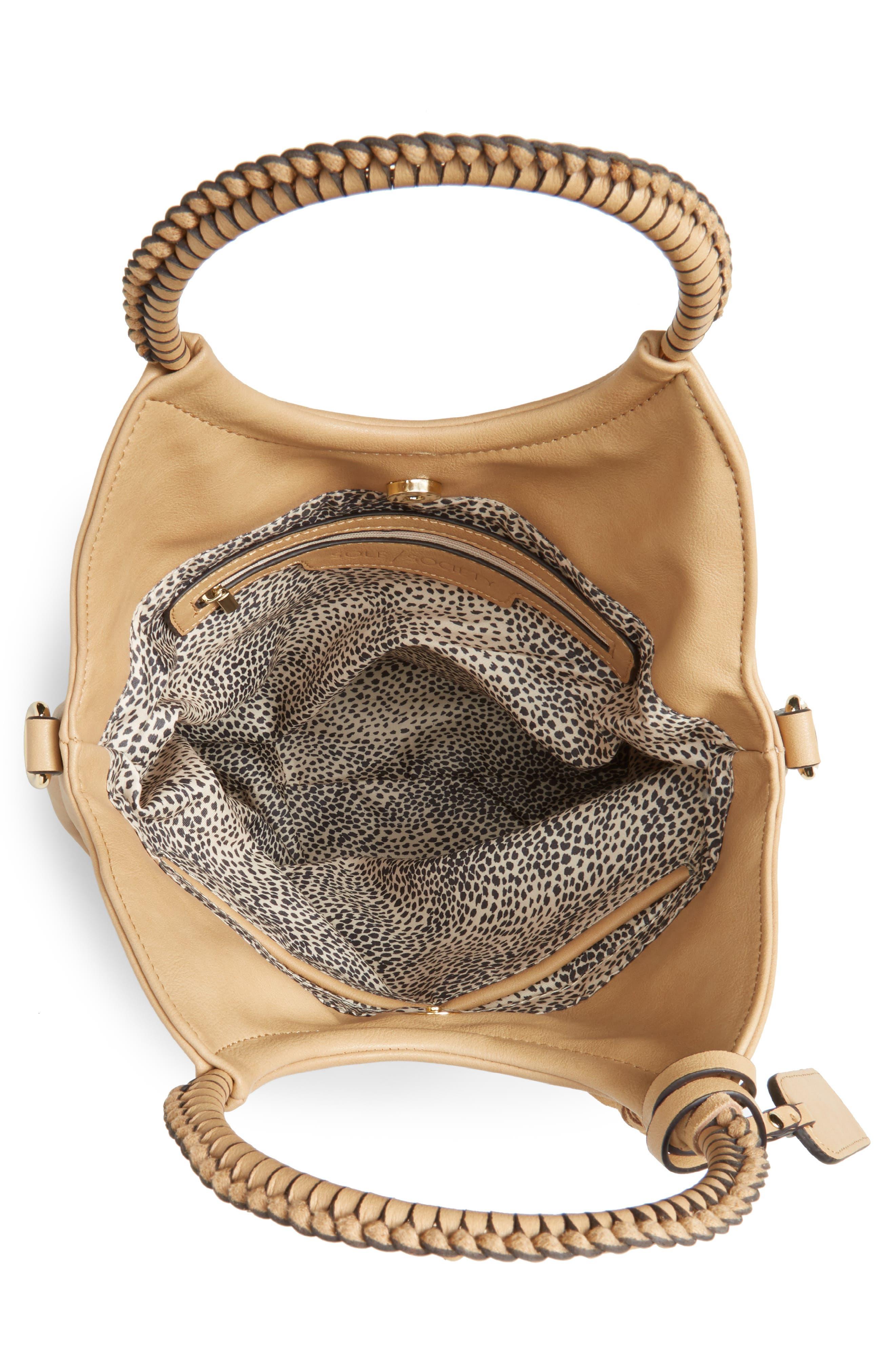 Faux Leather Bracelet Bag,                             Alternate thumbnail 4, color,                             SAFARI