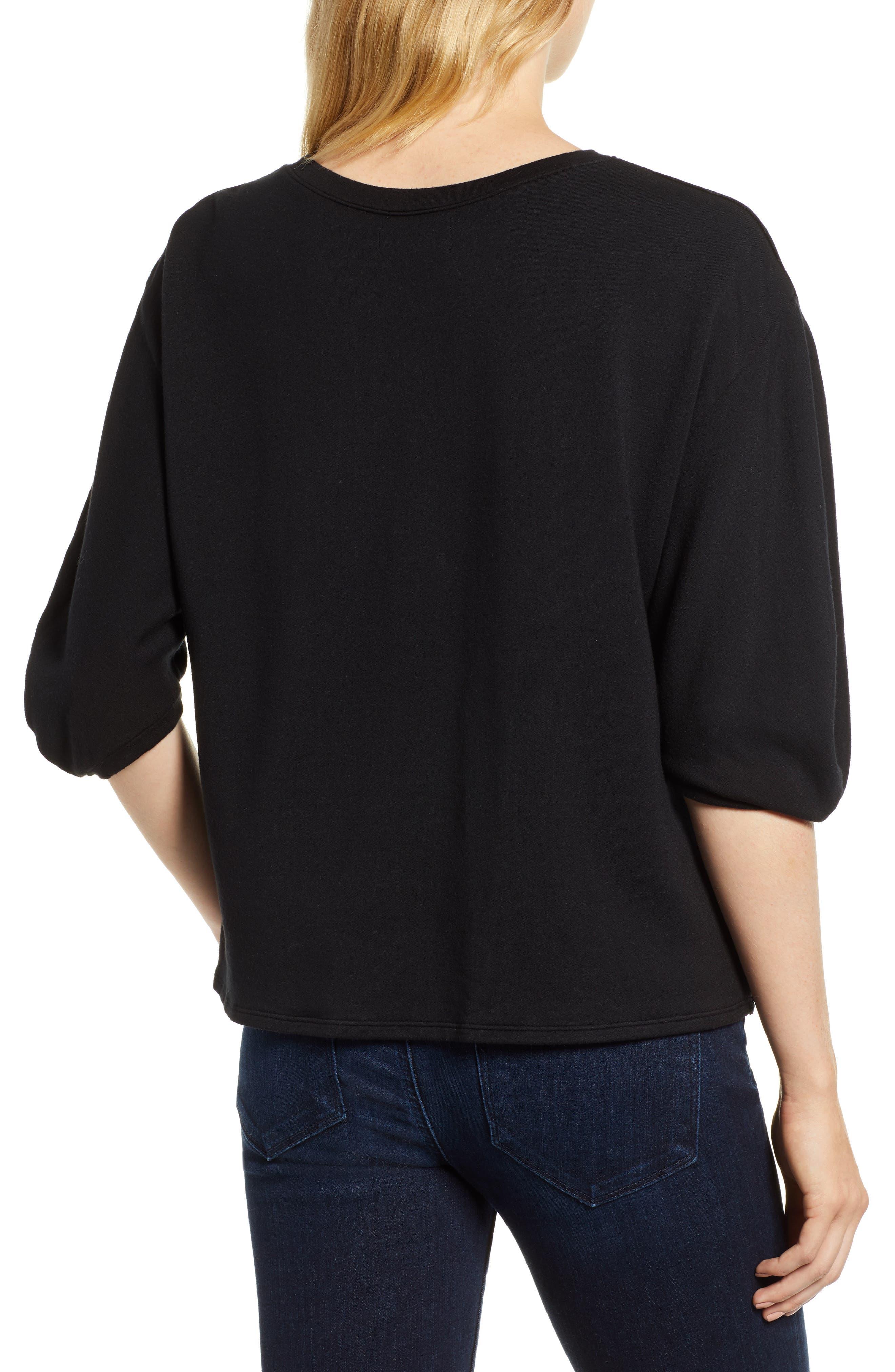 Velvet & Fleece Half Sleeve Top,                             Alternate thumbnail 2, color,                             BLACK