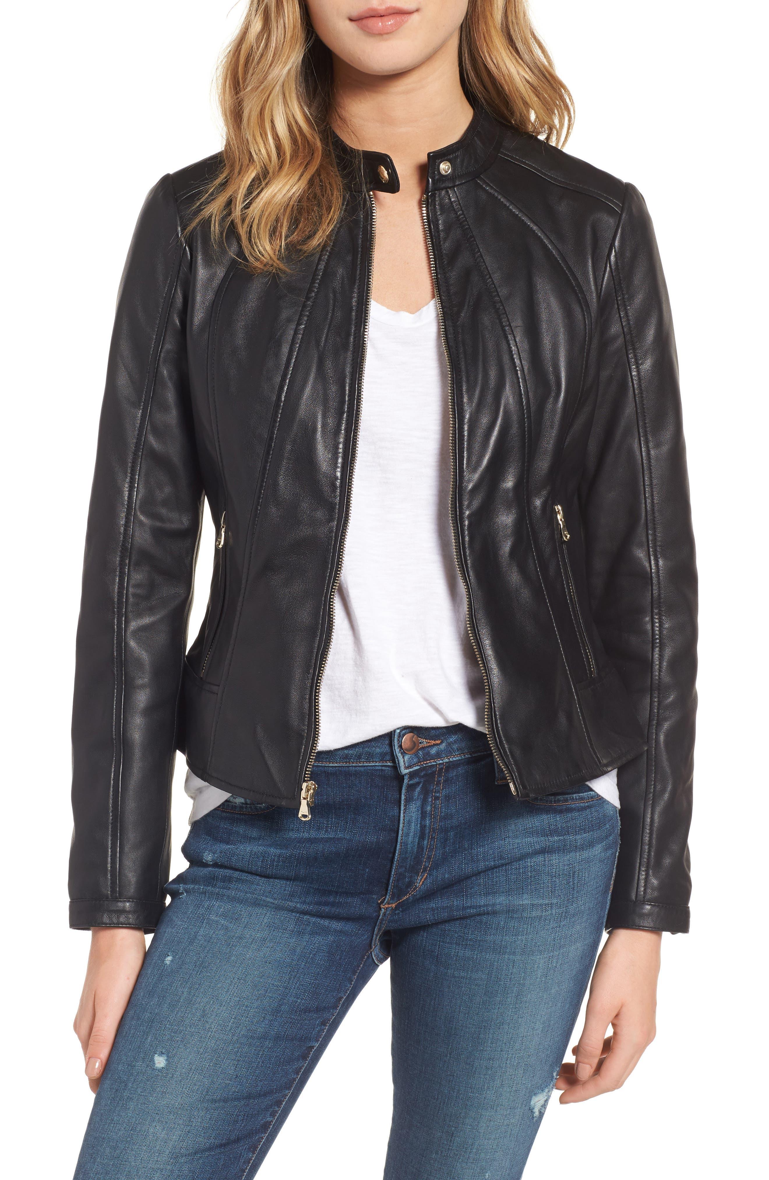 Collarless Leather Moto Jacket,                             Main thumbnail 1, color,                             001
