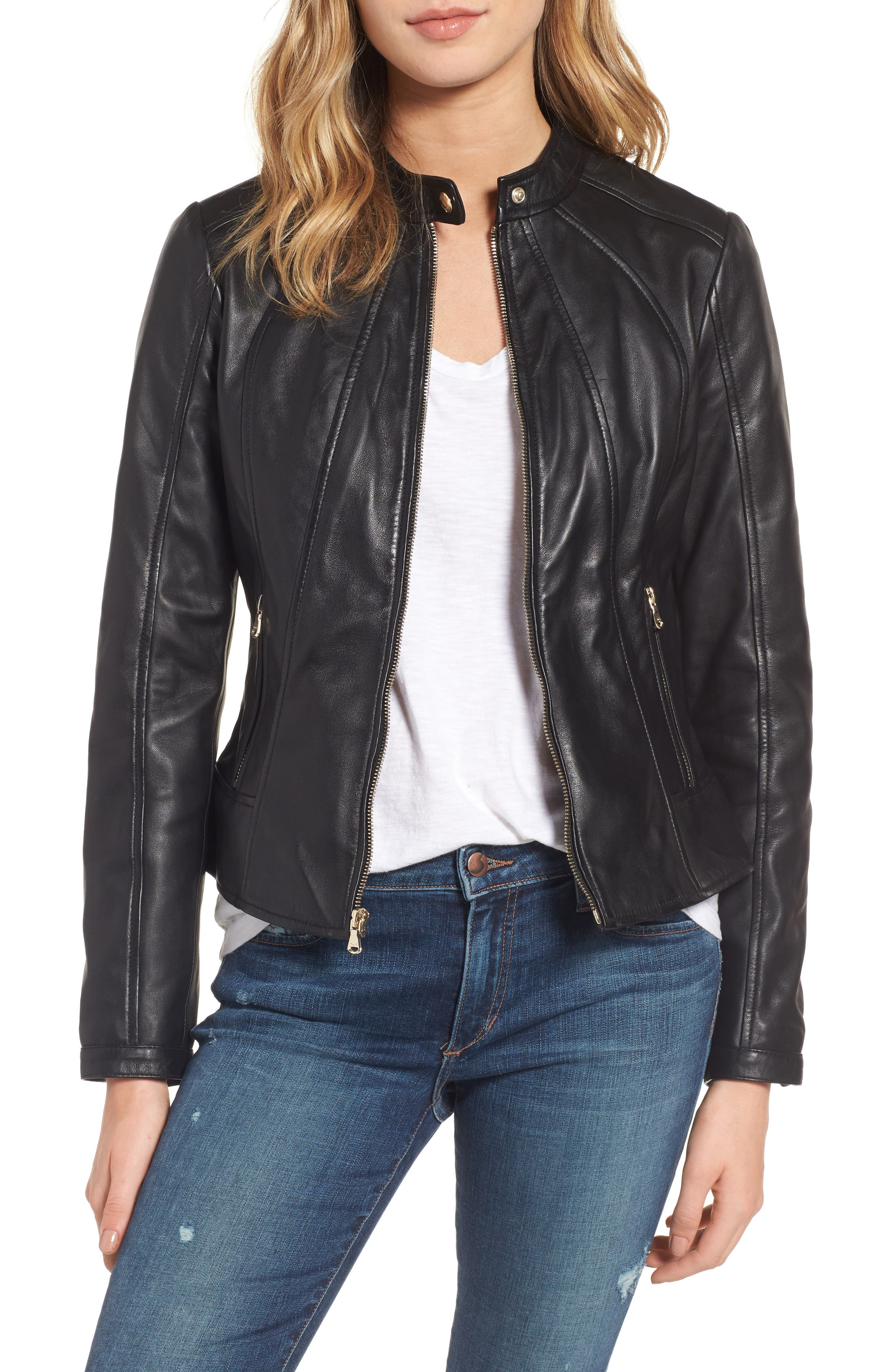 Collarless Leather Moto Jacket,                         Main,                         color, 001
