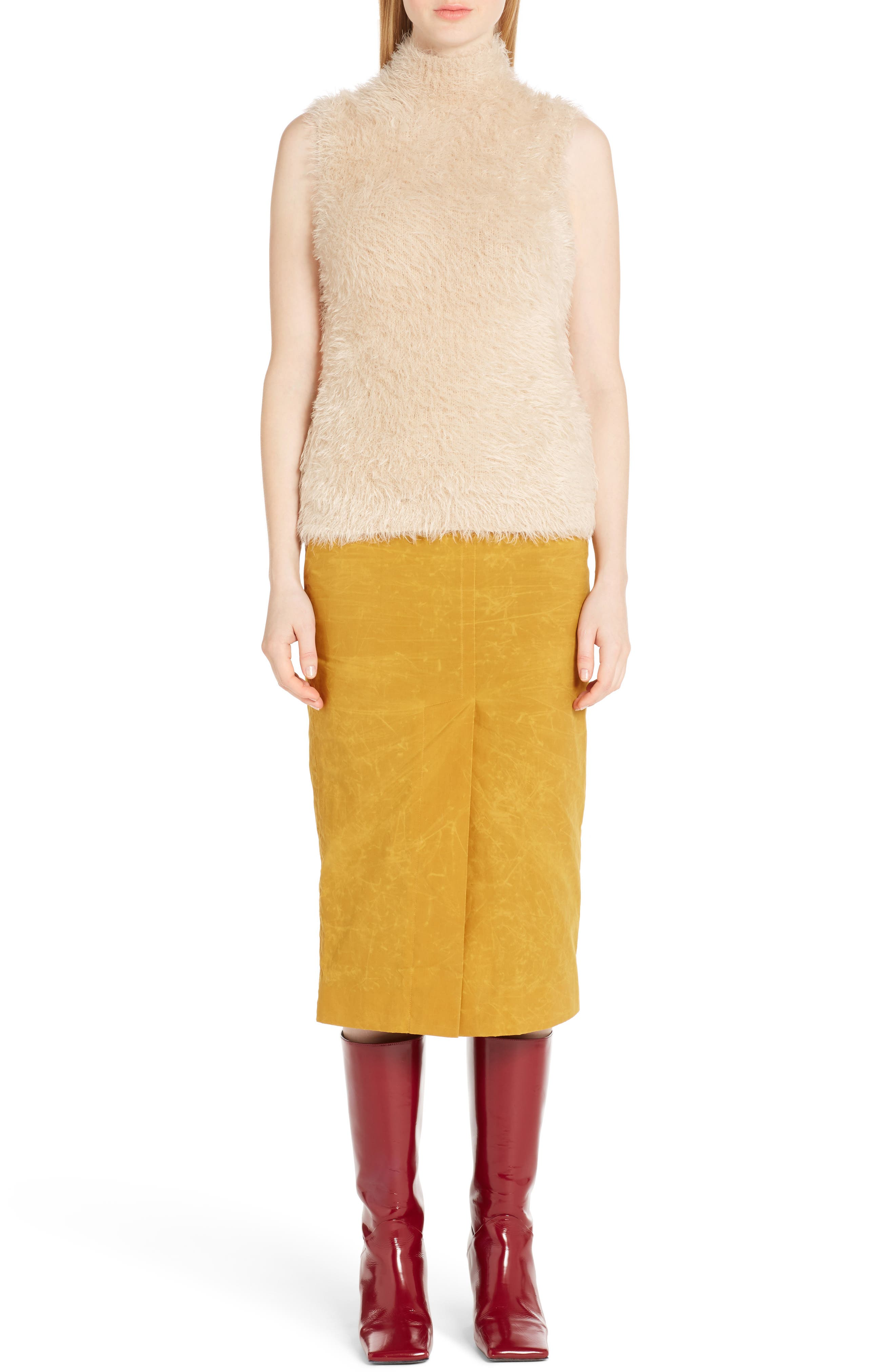 Waxed Cotton Pencil Skirt,                             Alternate thumbnail 6, color,                             700