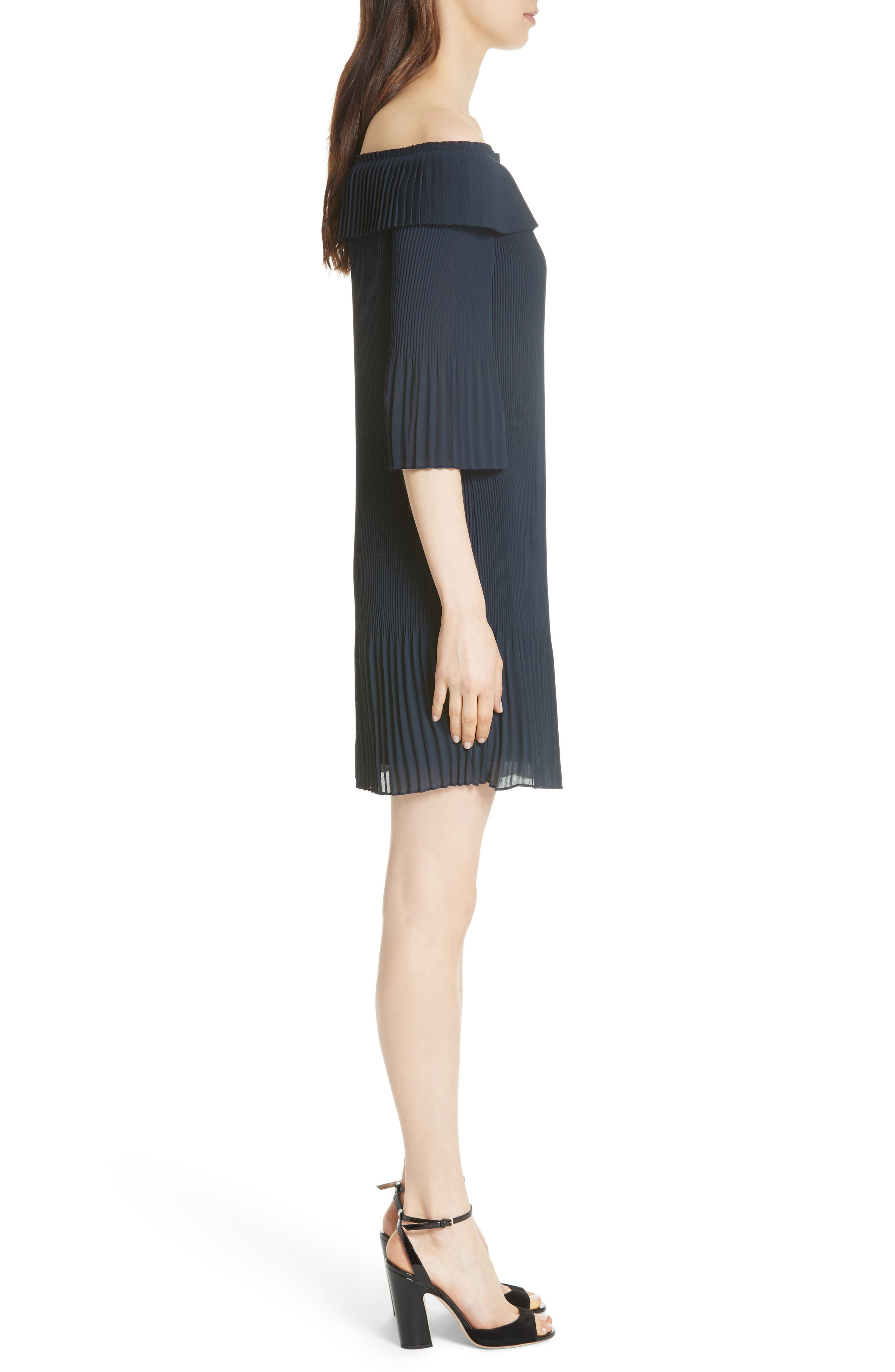 Bardot Pleated Off the Shoulder Chiffon Minidress,                             Alternate thumbnail 3, color,                             410
