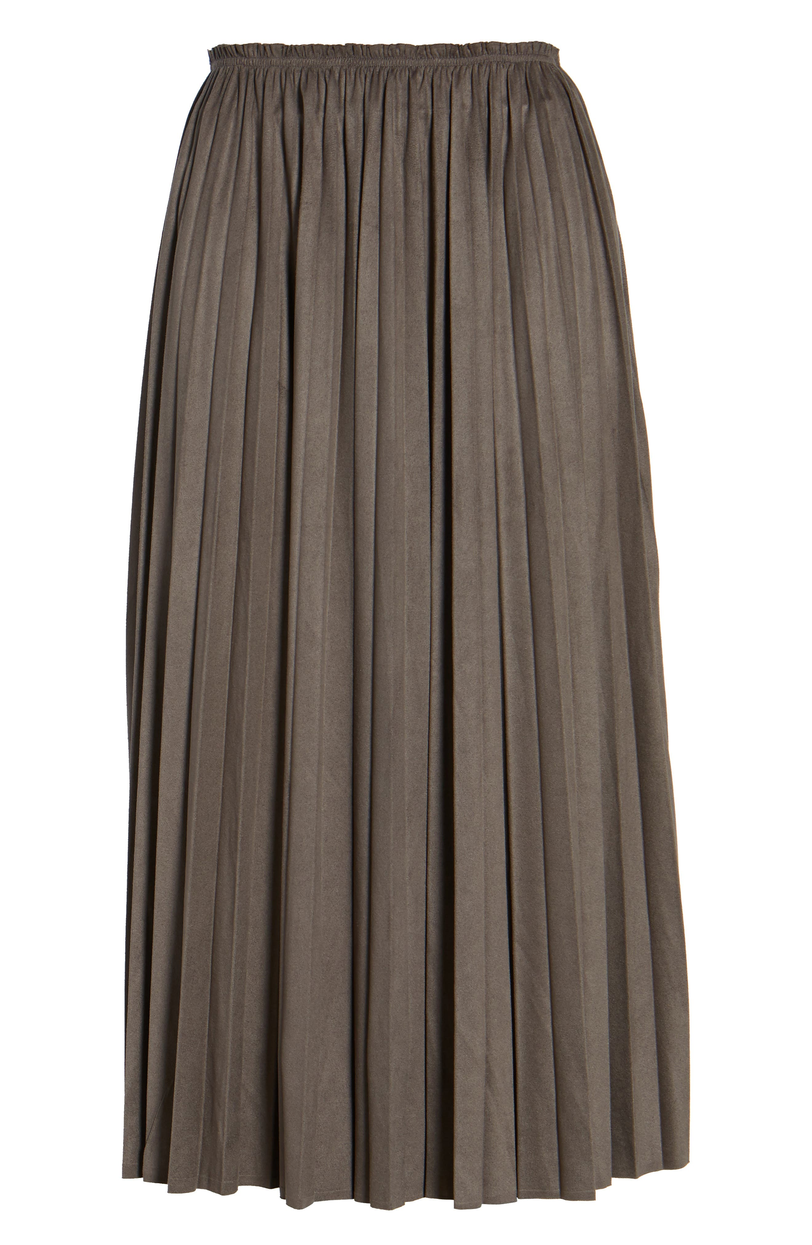 Pleated Faux Suede Midi Skirt,                             Alternate thumbnail 6, color,                             300