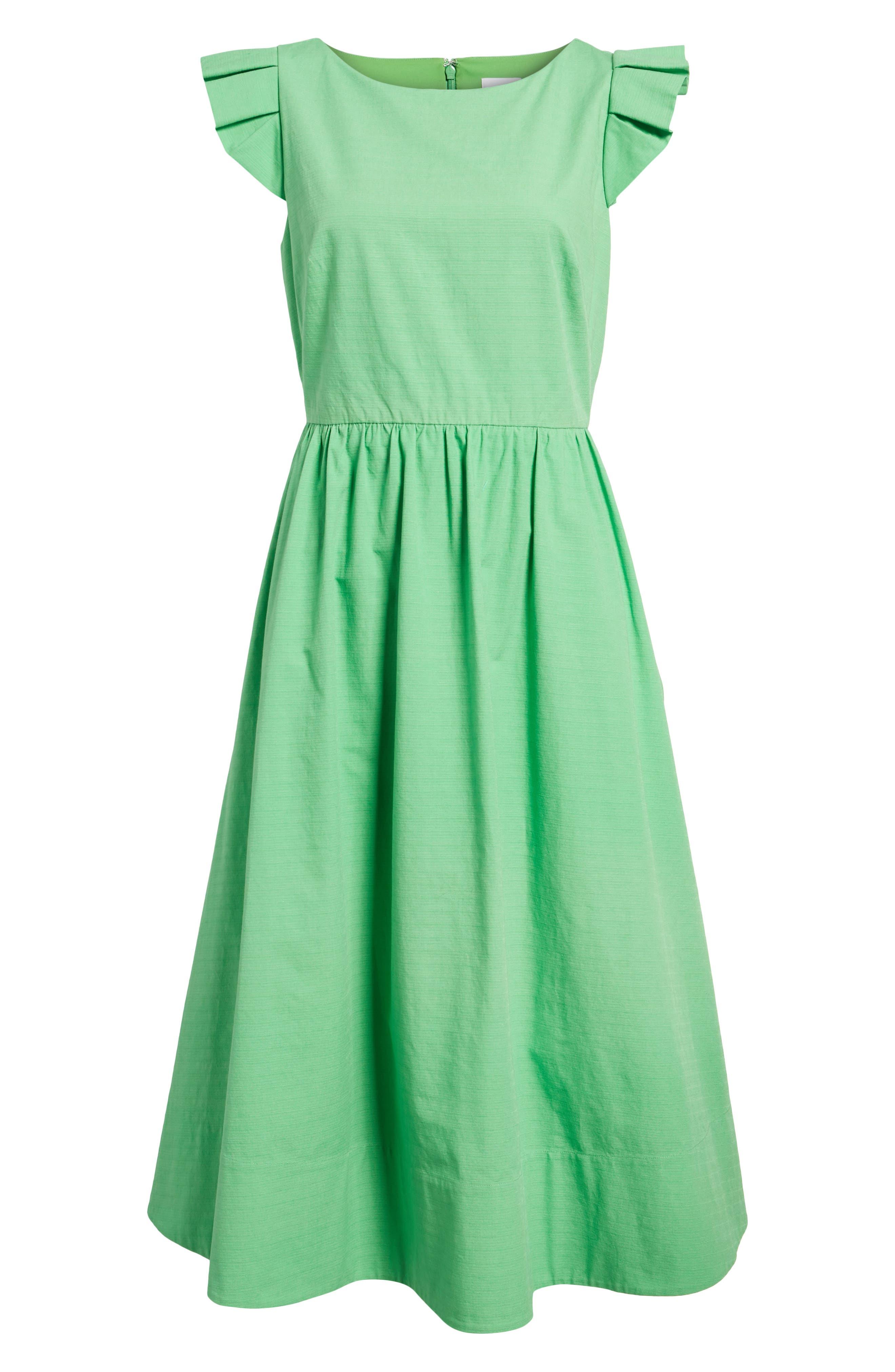 Ruffle Fit & Flare Midi Dress,                             Alternate thumbnail 6, color,                             330