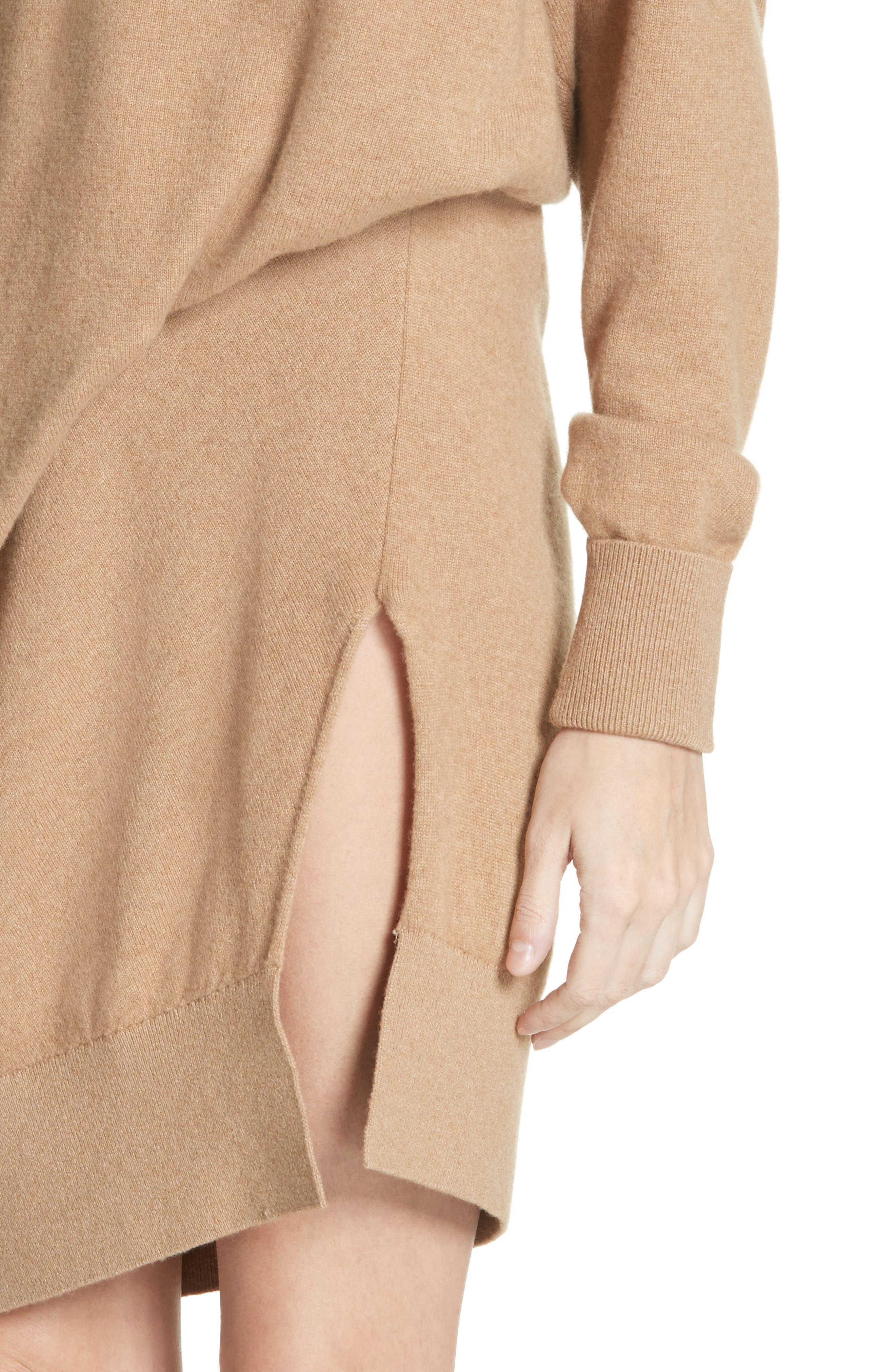 Asymmetrical Wool & Cashmere Blend Sweater Dress,                             Alternate thumbnail 4, color,                             204