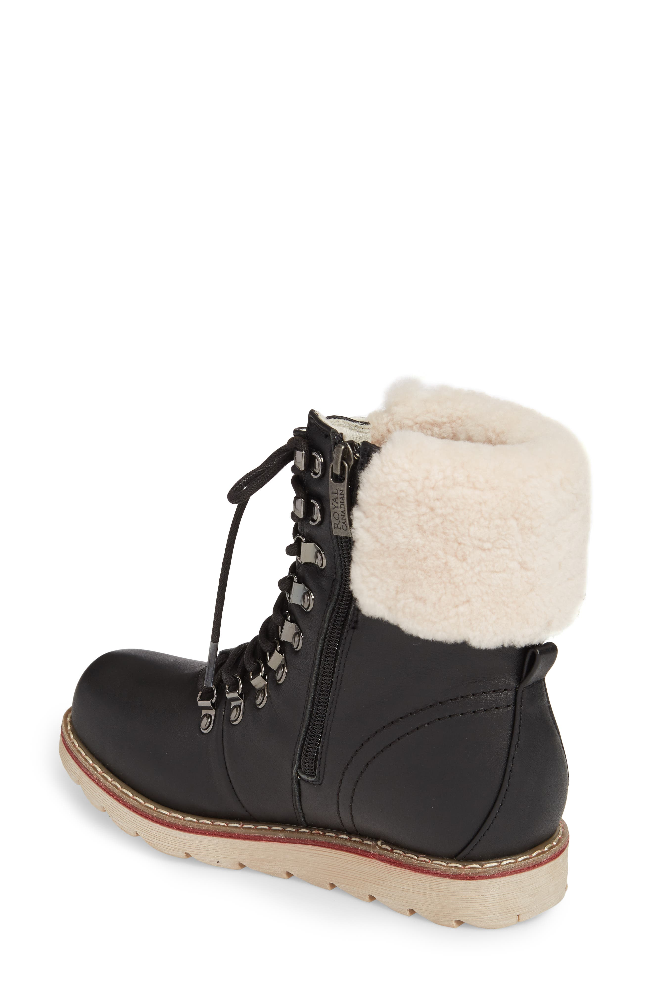 Lethbridge Waterproof Snow Boot with Genuine Shearling Cuff,                             Alternate thumbnail 2, color,                             BLACK LEATHER
