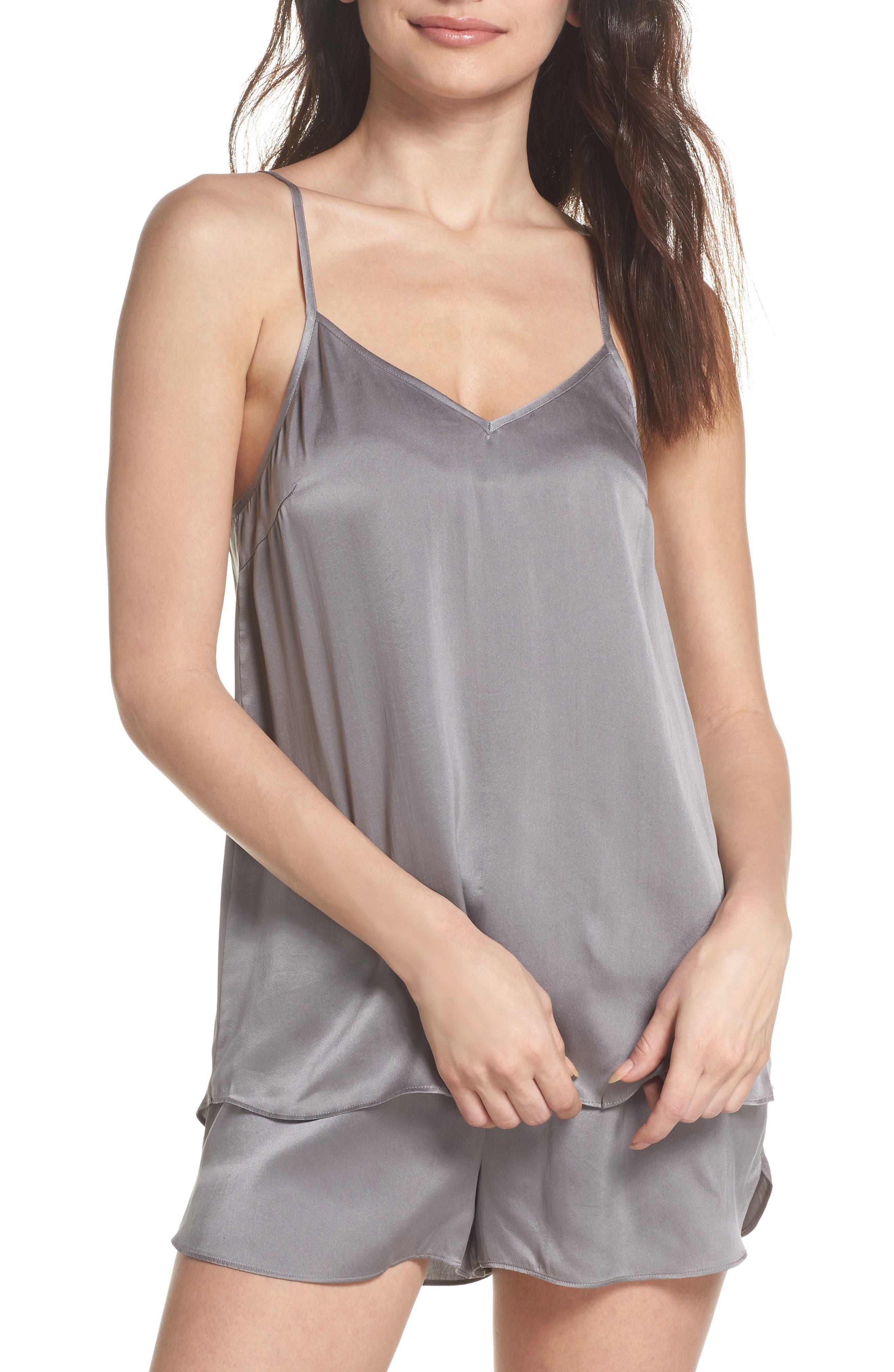 Short Silk Pajamas,                         Main,                         color, CHARCOAL